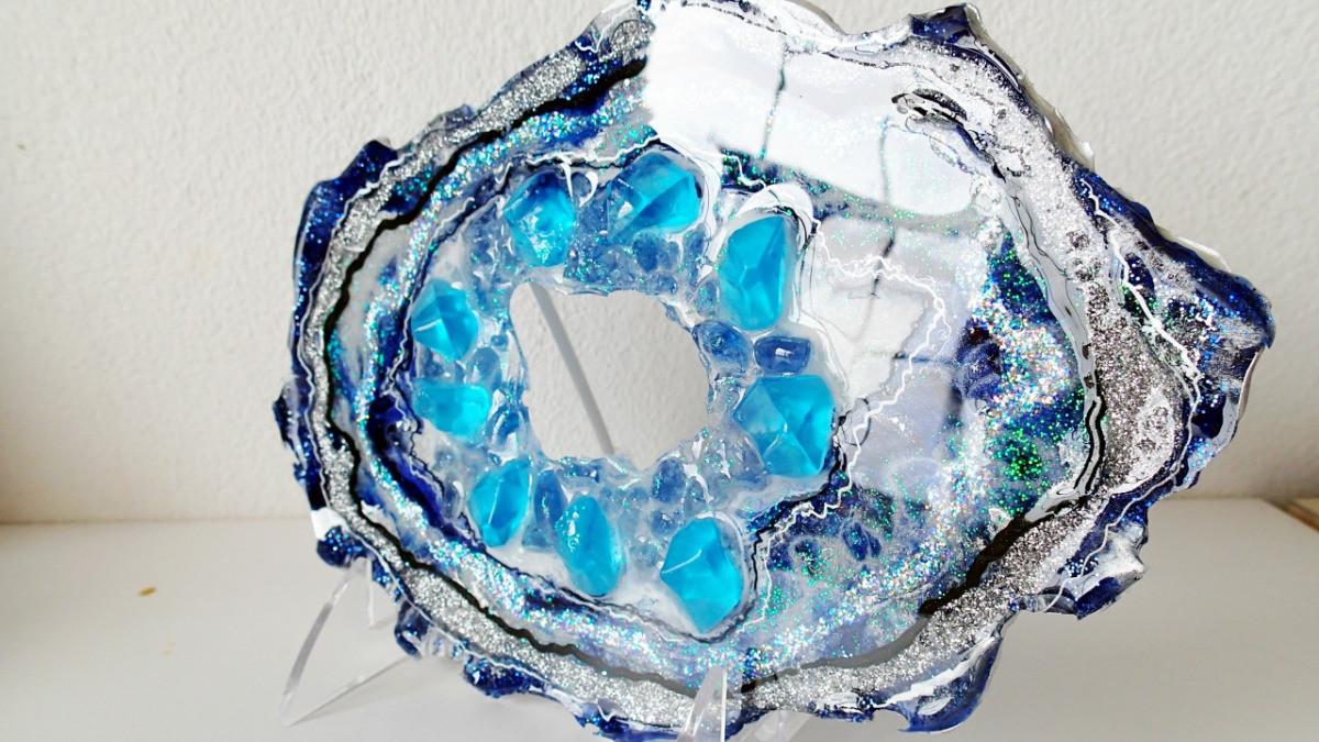 clear crushed glass vase filler of sparkling blue freeform resin geode resin geodes in blue freeform geode 9