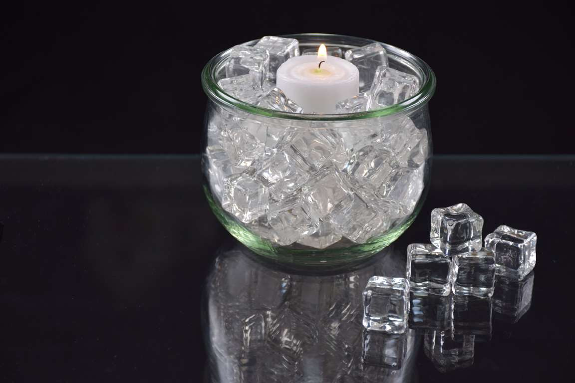 clear glass cube vase of artificial ice cubes genuine looking fake ice for eiswuerfel mit teelicht