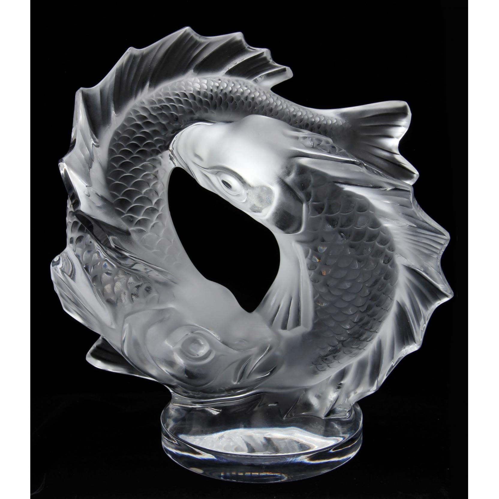 clear glass fish vase of lalique double fish sculpture leland little auctions gorgeous within lalique double fish sculpture leland little auctions