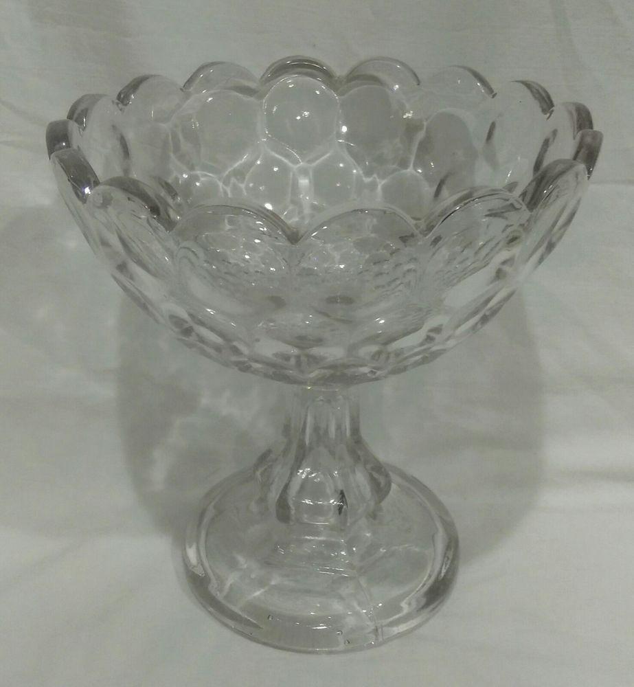 clear glass pedestal vase of antique 19th century belltone flint glass round thumbprint pedestal intended for antique 19th century belltone flint glass round thumbprint pedestal compote
