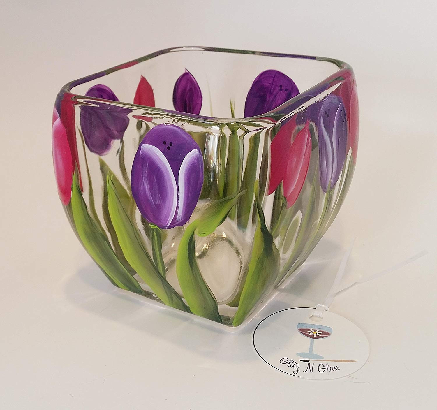 Clear Glass Tulip Vase Of Amazon Com Hand Painted Glass Square Bowl Pink and Purple Tulips Pertaining to Amazon Com Hand Painted Glass Square Bowl Pink and Purple Tulips Handmade