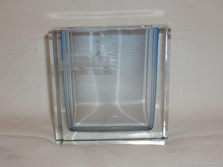 clear glass vase square of vase or pencil holder the kremlin clear glass crystal lshs shop intended for clear glass crystal lshs vintage interior decor livemaster handmade buy vase or pencil holder the kremlin
