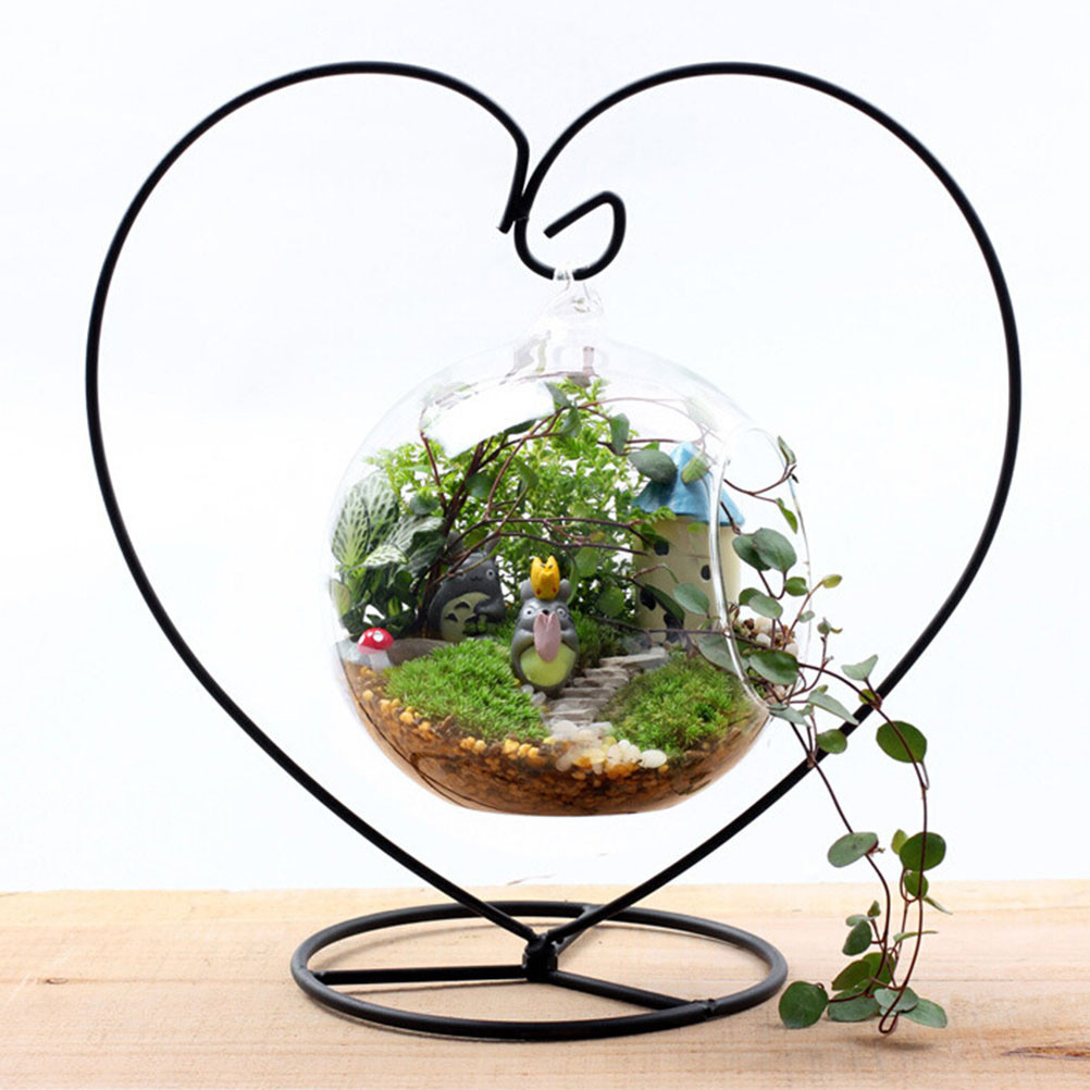 clear heart shaped vase of black heart shaped iron hanging plant glass vase terrarium stand in 1 x iron stand hanging vase not included