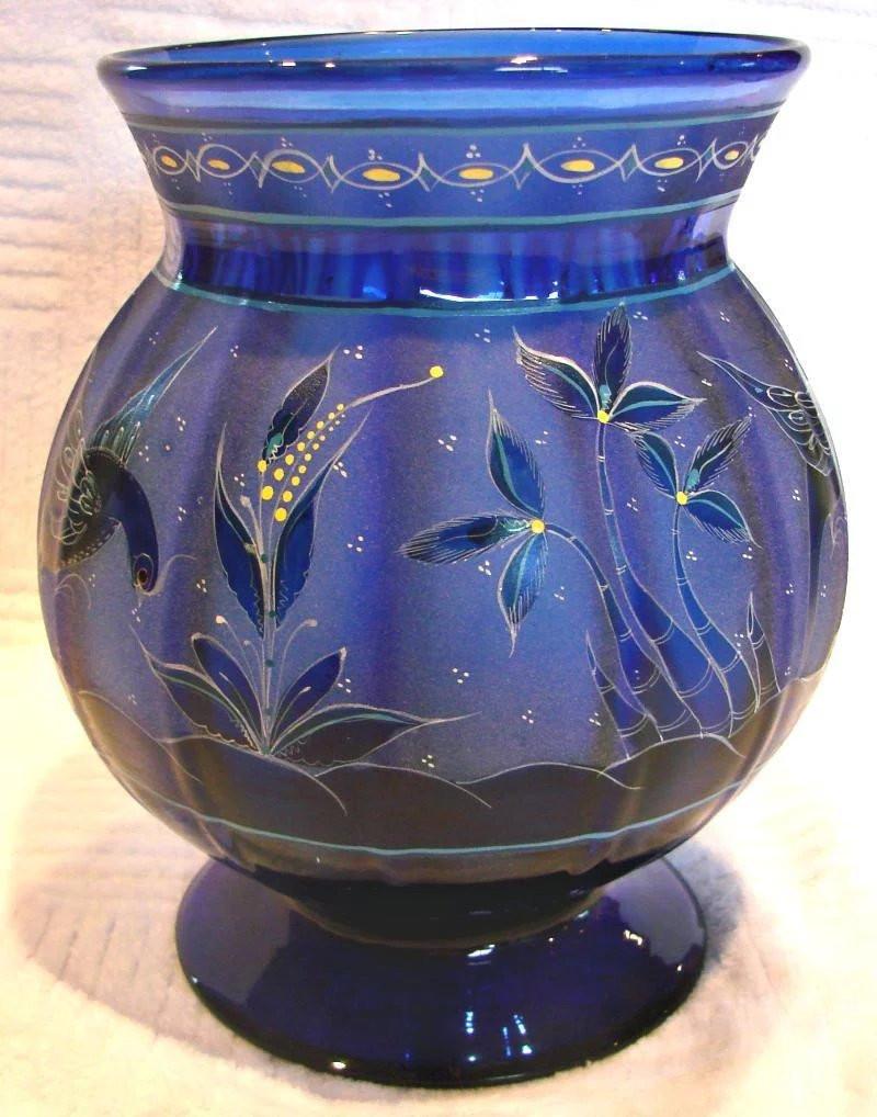 cobalt blue blown glass vase of english 8 cobalt blue paneled art glass vase intricate design with click to expand a· english 8 cobalt blue paneled art glass vase intricate design flying birds