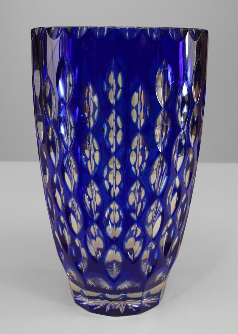 cobalt blue cut glass vase of art deco continental czechoslovakia taper cylindrical clear and for art deco continental accessories urn vase glass