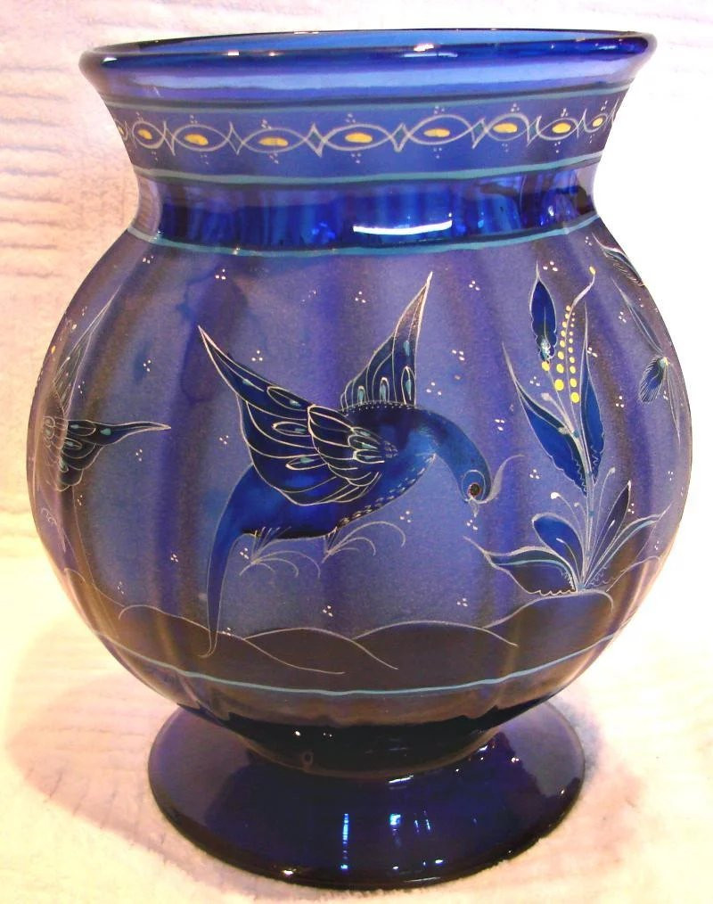 cobalt blue flower vase of english 8 cobalt blue paneled art glass vase intricate design for click to expand a· english 8 cobalt blue paneled art glass vase intricate design flying birds eating seeds gorgeous