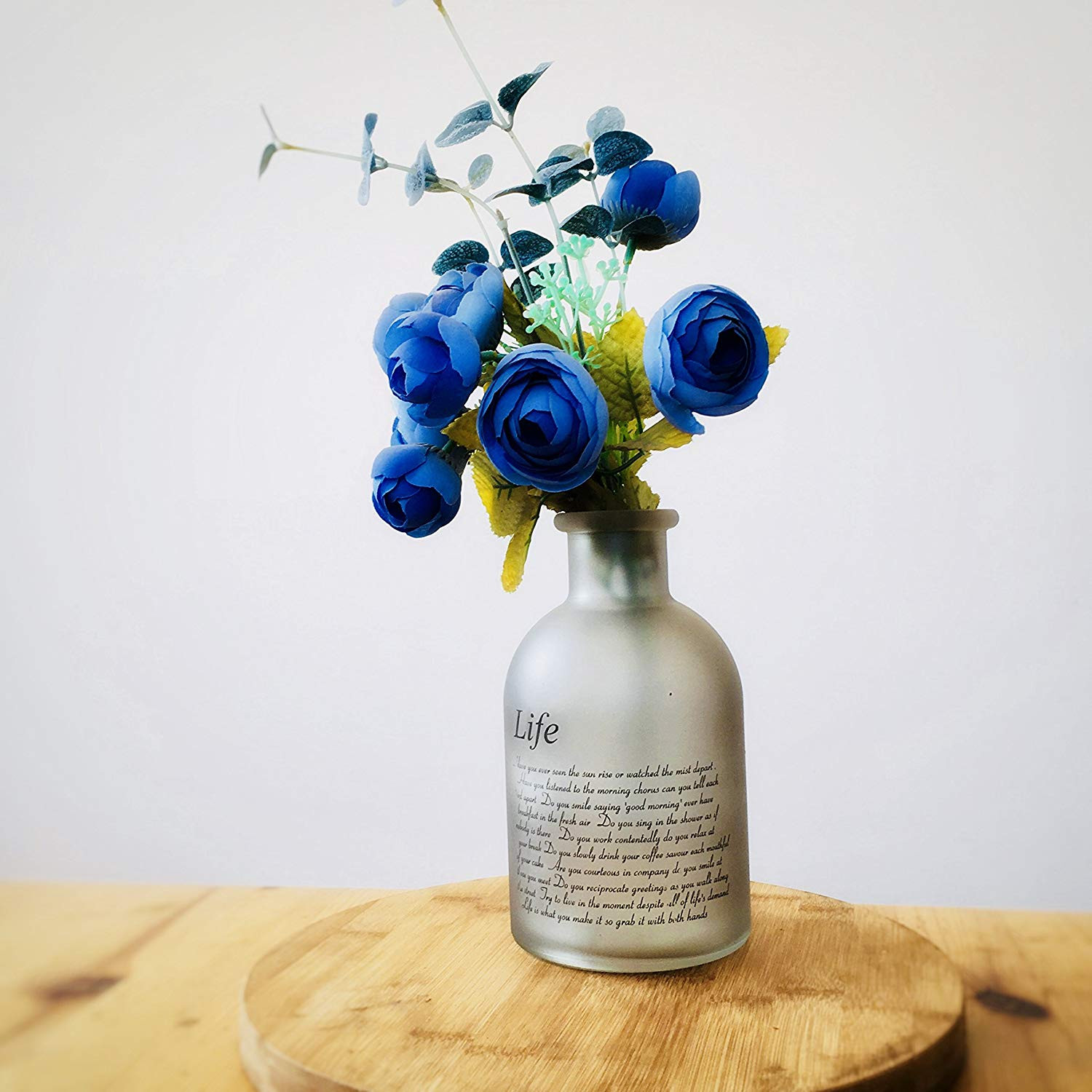 cobalt blue glass flower vases of amazon com flowersea decorative frosted glass bottle bud vases for within amazon com flowersea decorative frosted glass bottle bud vases for flowers modern design with life poem laurel clear home kitchen