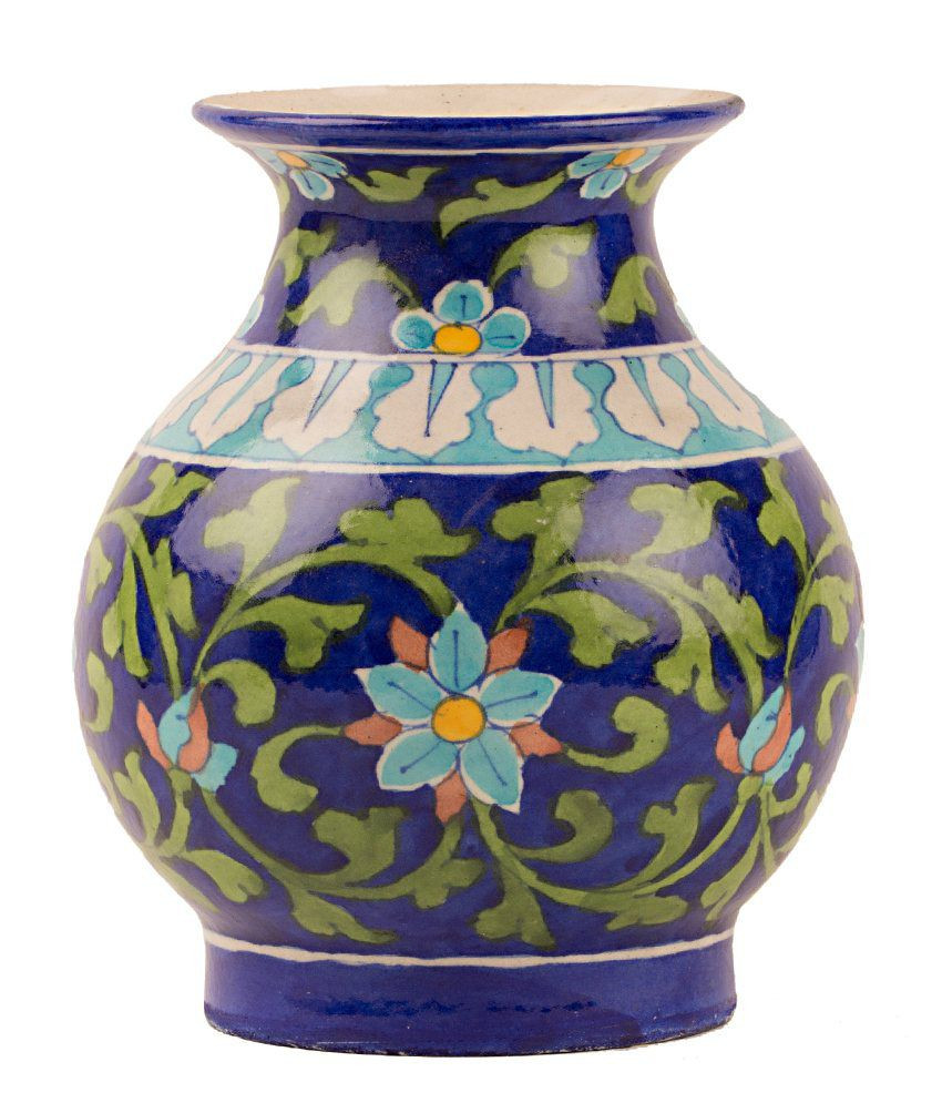 cobalt blue pottery vase of rajasthali blue pottery flower wash pot 556 inches buy rajasthali throughout rajasthali blue pottery flower wash pot 556 inches