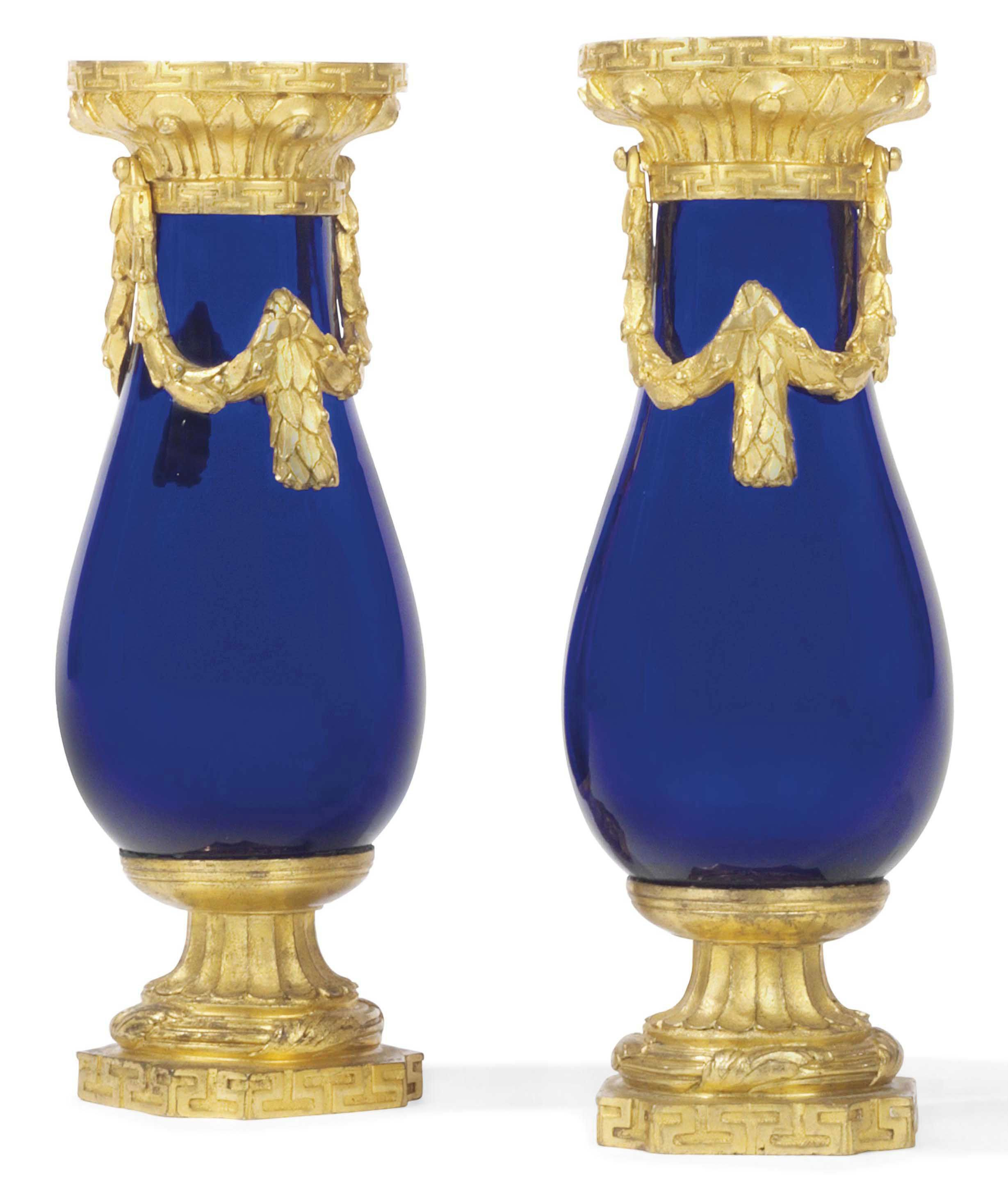 cobalt blue square vases of a pair of louis xvi ormolu and blue glass vases circa 1775 urns intended for a pair of louis xvi ormolu and blue glass vases circa 1775