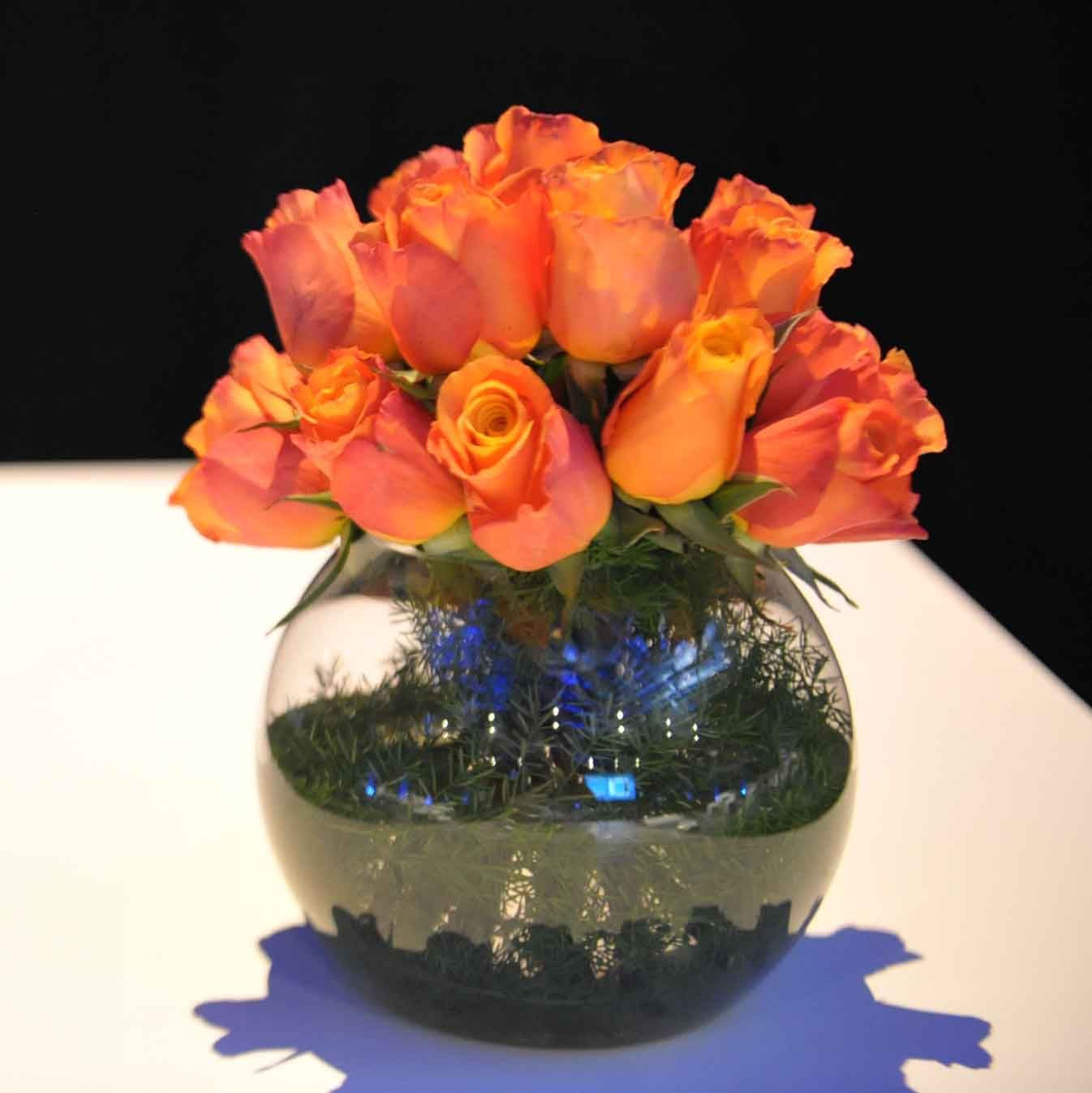 Cobalt Blue Vase Centerpieces Of 8 Od orange Rose Foliage Lined Gold Fish Bowl orange Flower Regarding 8 Od orange Rose Foliage Lined Gold Fish Bowl
