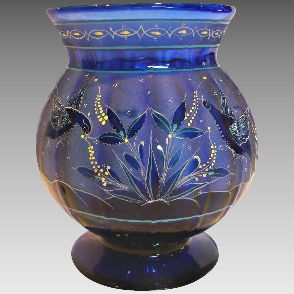 cobalt blue vase vintage of english 8 cobalt blue paneled art glass vase intricate design within click to expand