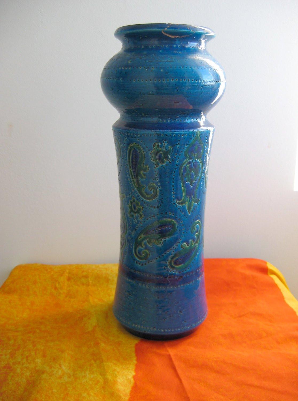 cobalt blue vase vintage of vintage bitossi italian art pottery vase by aldo londi etsy intended for image 0