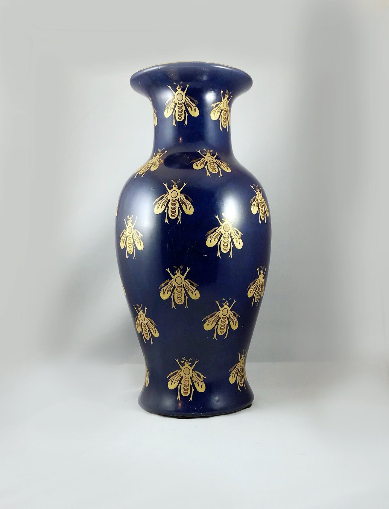 "cobalt blue vases antique of royal blue flower vase with golden hand painted bumble bees etsy with dŸ""Žzoom"