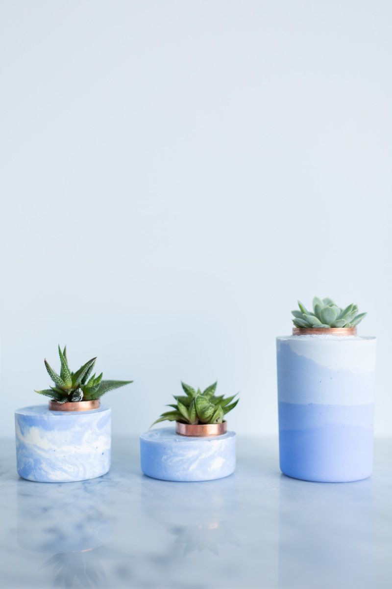 Concrete Vase Mold Of Try This Super Simple Diy Marbled and Ombre Concrete Planters within Three Blue Concrete Planters with Succulents On Marble Surface