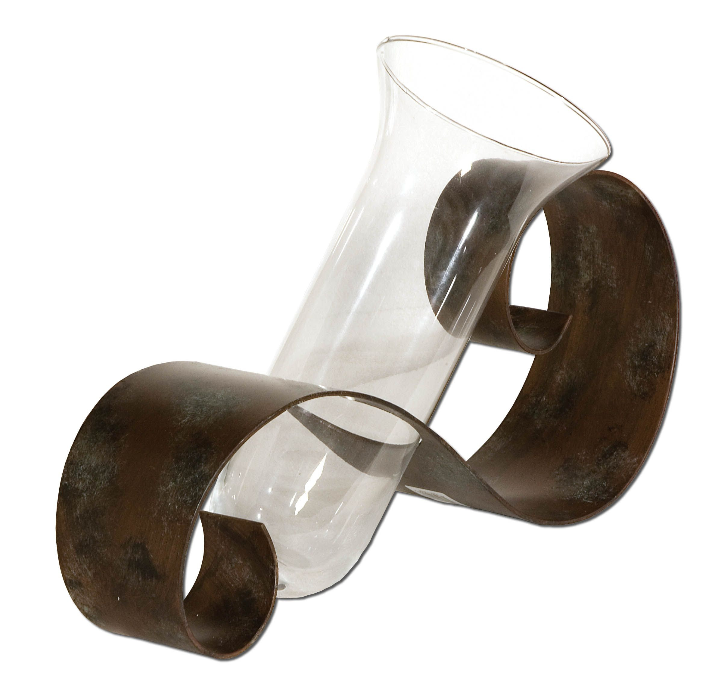 contemporary decorative vases of contemporary curl vase antiqued mahogany hand forged metal with intended for contemporary curl vase antiqued mahogany hand forged metal with black and light gray distressing and a clear glass vase flowers not included