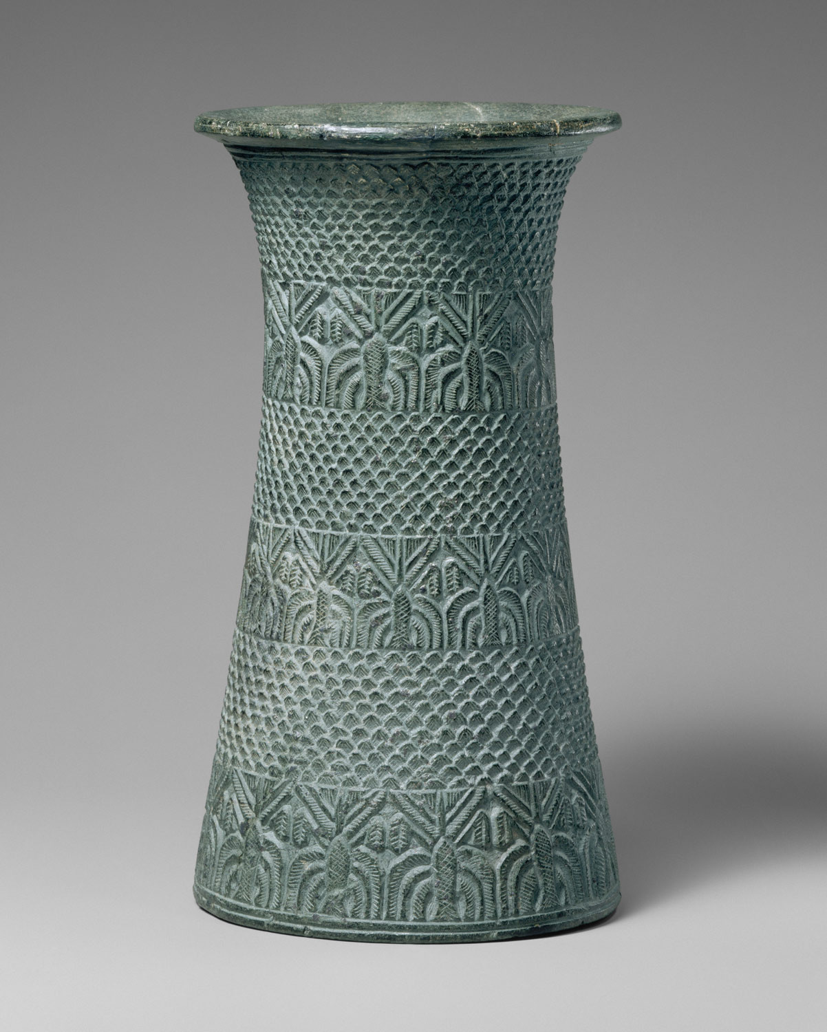 Coors Pottery Vase Of Art Of the First Cities In the Third Millennium B C Essay Throughout Vase with Overlapping Pattern and Three Bands Of Palm Trees