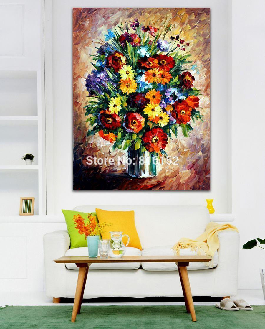 cotton colors vase of modern palette knife painting brilliant bouquet in vase wall art inside modern palette knife painting brilliant bouquet in vase wall art floral picture printed on canvas picture for office home decor flower oil picture palette