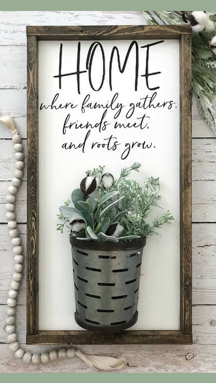cotton stems in glass vase of home where family gathers friends meet and roots grow galvanized inside home where family gathers galvanized vase sign vase sign farmhouse sign farmhouse decor home sign cotton stem sign gallery wall sign
