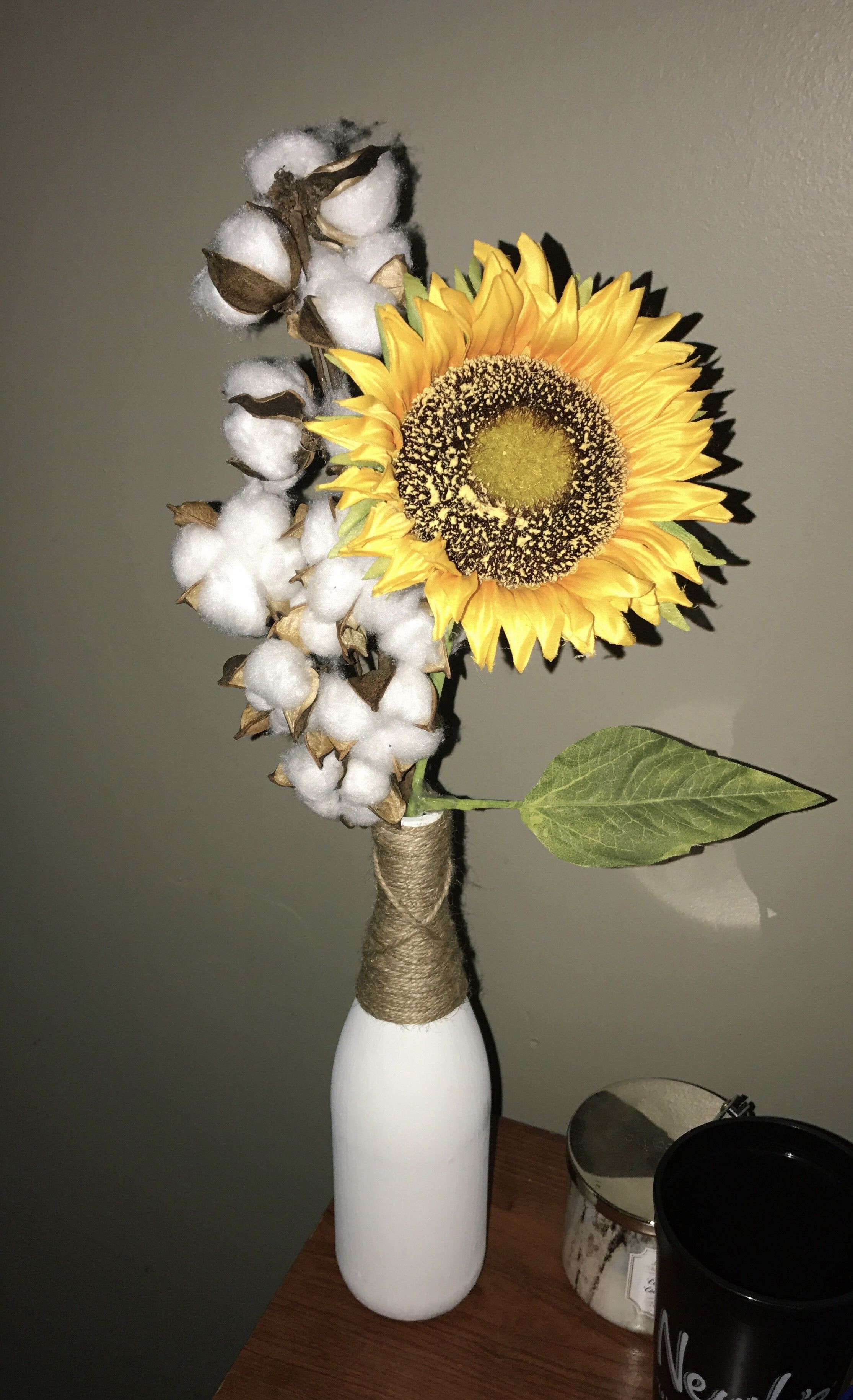 cotton vase decor of sunflower and cotton arrangement in wine bottle our next home in sunflower and cotton arrangement in wine bottle