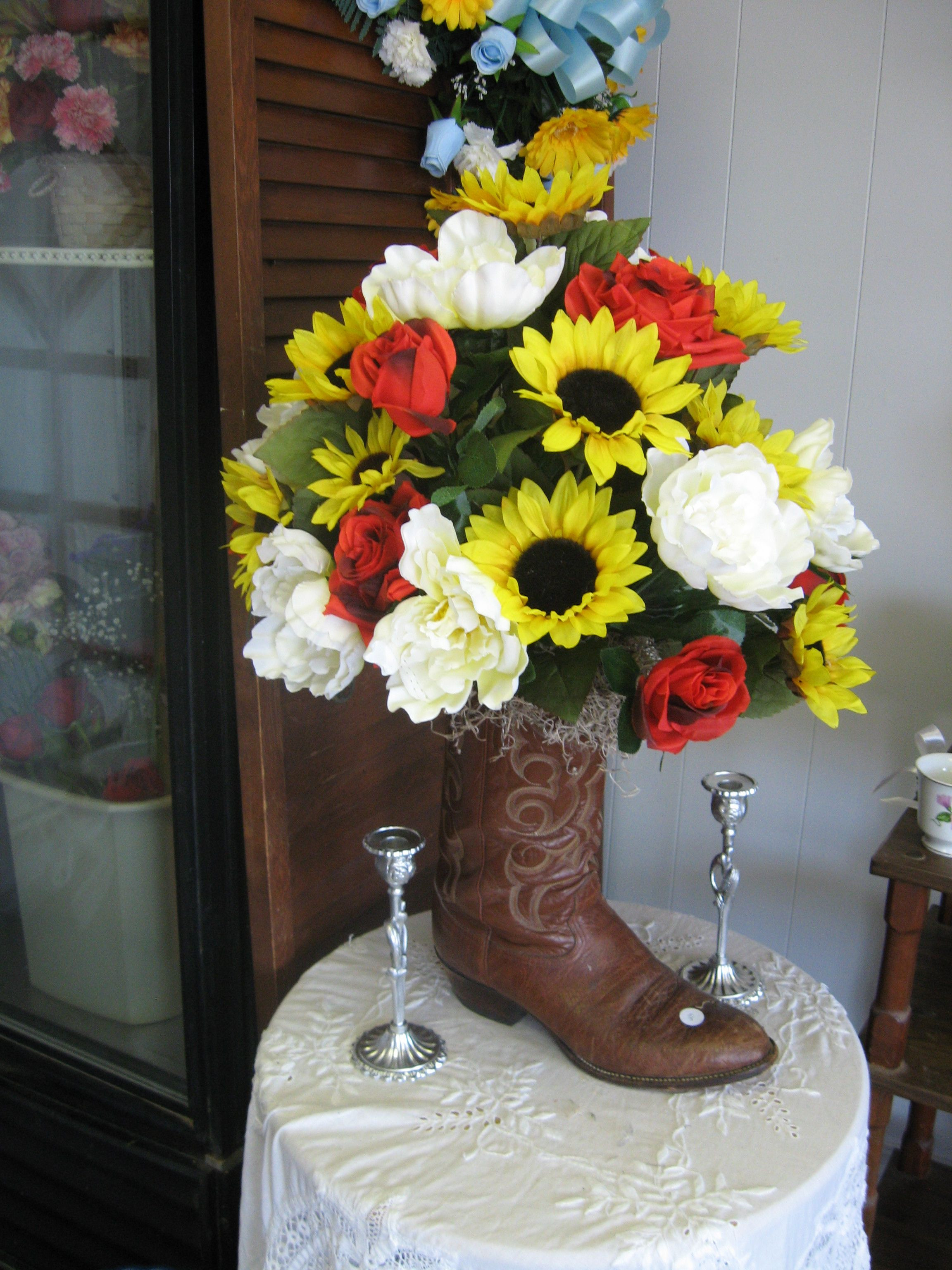 cowboy boot flower vase of cowboy boot arrangement little country flowers gift shop items pertaining to vase a· floral a· cowboy boot arrangement