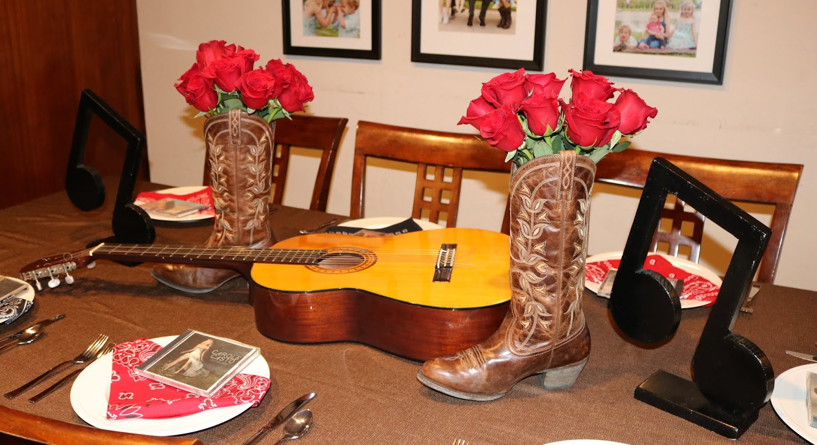 Cowboy Boot Vase Centerpiece Of Invite and Delight Lovin Country Music Inside Decor I Borrowed An Acoustic Guitar From A Friend to Set On My Table I Grabbed My Cowboy Boots and Put A Vase Inside with Red Roses