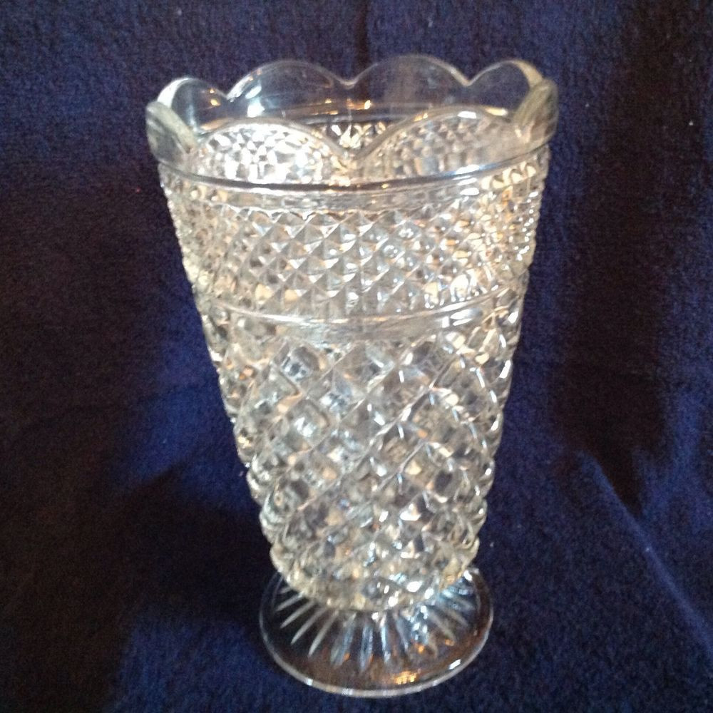 crystal vase patterns of vintage anchor hocking wexford clear glass 10 tall flower vase w pertaining to vintage anchor hocking wexford clear glass 10 tall flower vase w scalloped top