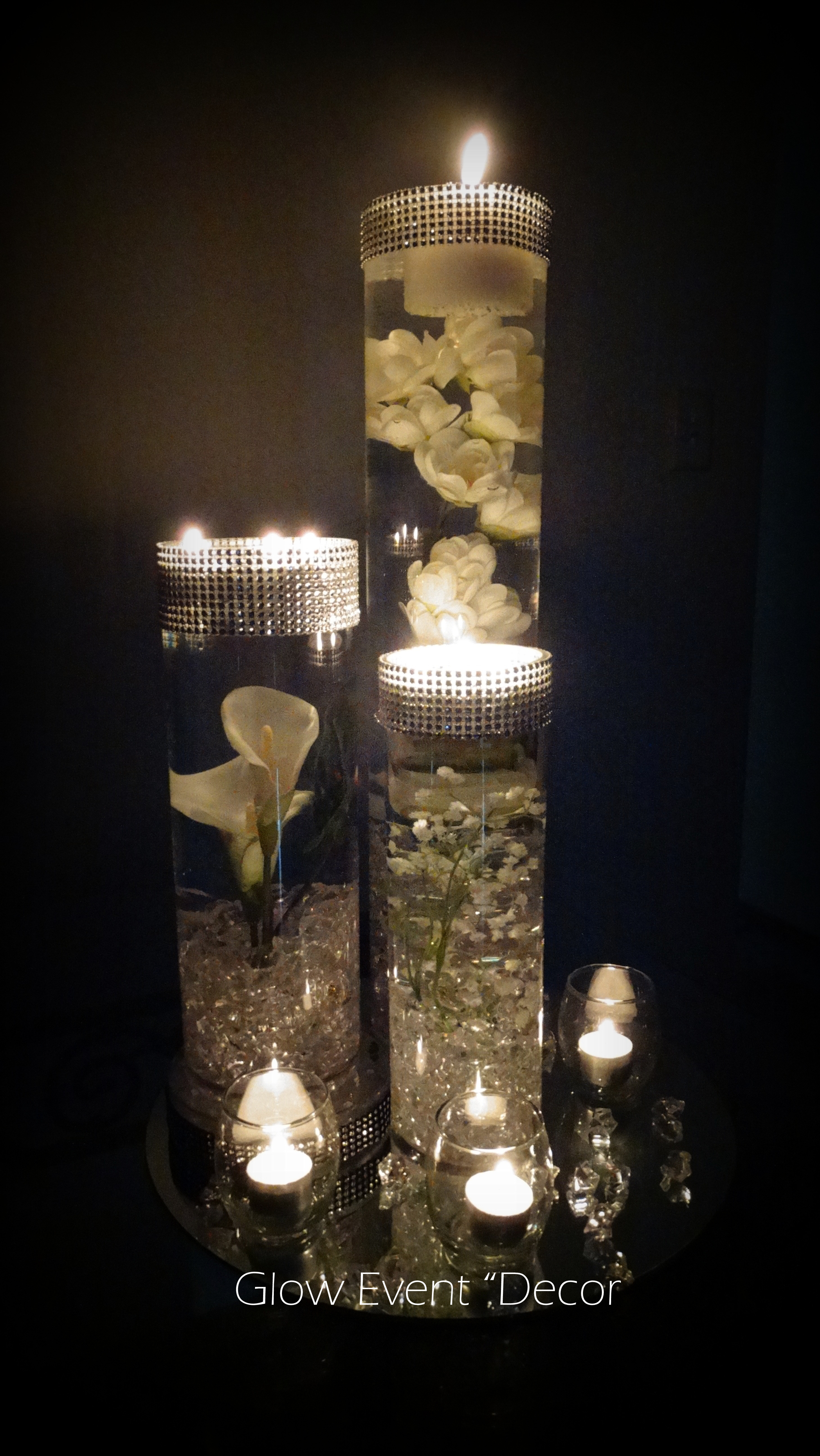 cylinder candle vase set of 3 of led orchid cylinder vase glow event decor in cylinder vase trio submerged lillies gyp sophlia bablies breath crystal garland for bridal