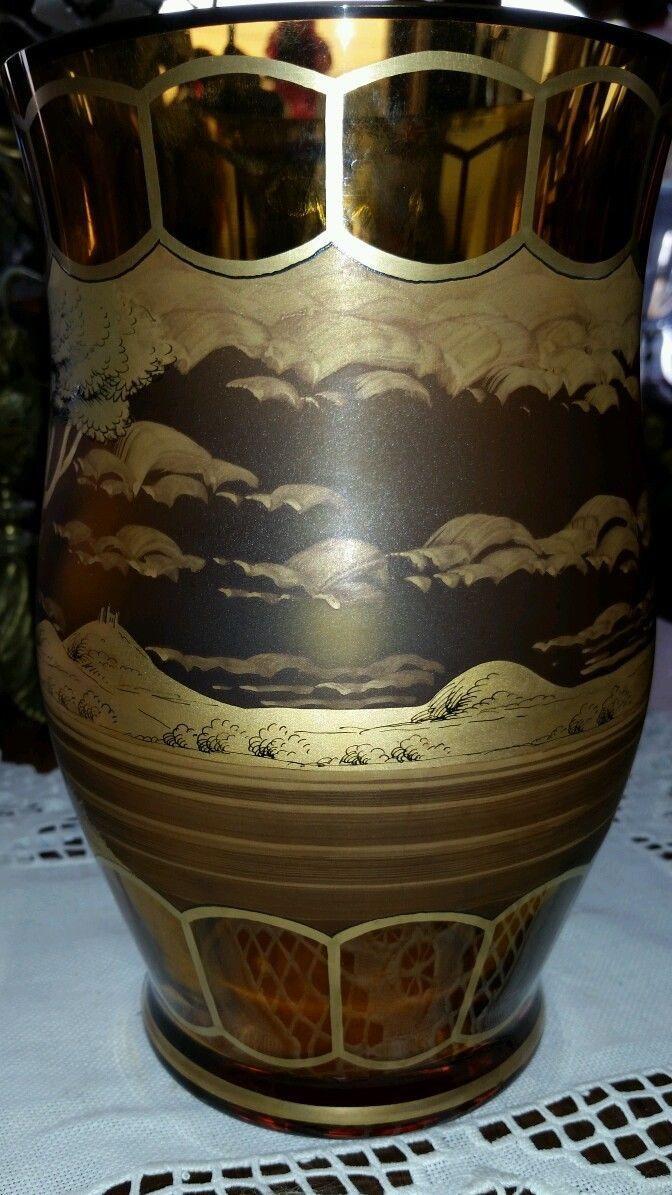 czech glass vase of bohemia glass czech amber glass vase gilt frieze artist signed 9 1 4 with regard to bohemia glass czech amber glass vase gilt frieze artist signed 9 1 4 5 pounds