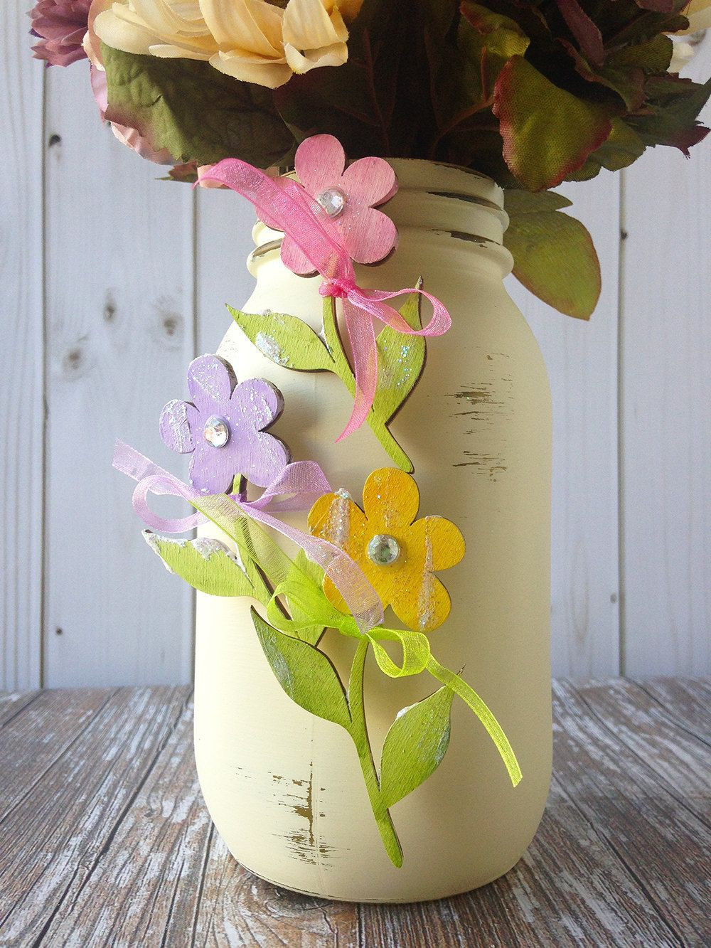 daisies in a vase of wood and glass vase photograph wooden daisy charms mason jar decor inside wood and glass vase photograph wooden daisy charms mason jar decor set of 3 colorful flowers