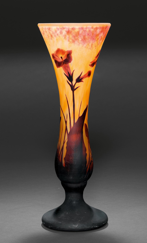 daum crystal vase of daum nancy vase ca 1900 yellow glass with orange overlay etched regarding daum nancy vase ca 1900 yellow glass with orange overlay etched and engraved signed daum nancy h 35 cm trompetenform mit tabakblumendekor signiert