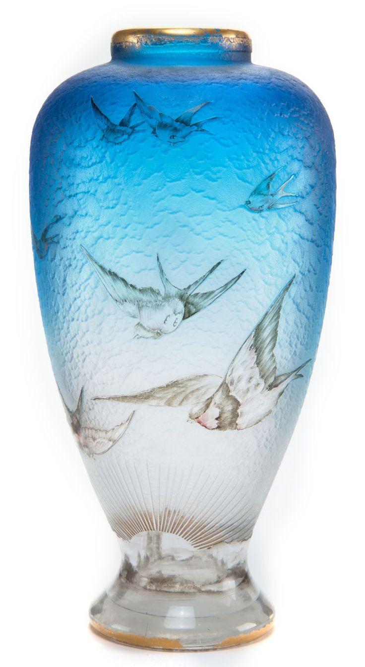 daum daffodil vase of 14 best daum vases images on pinterest crystals flower vases and regarding art glassgalle daum etched and enameled glass hirondelles vase sky blueglass with