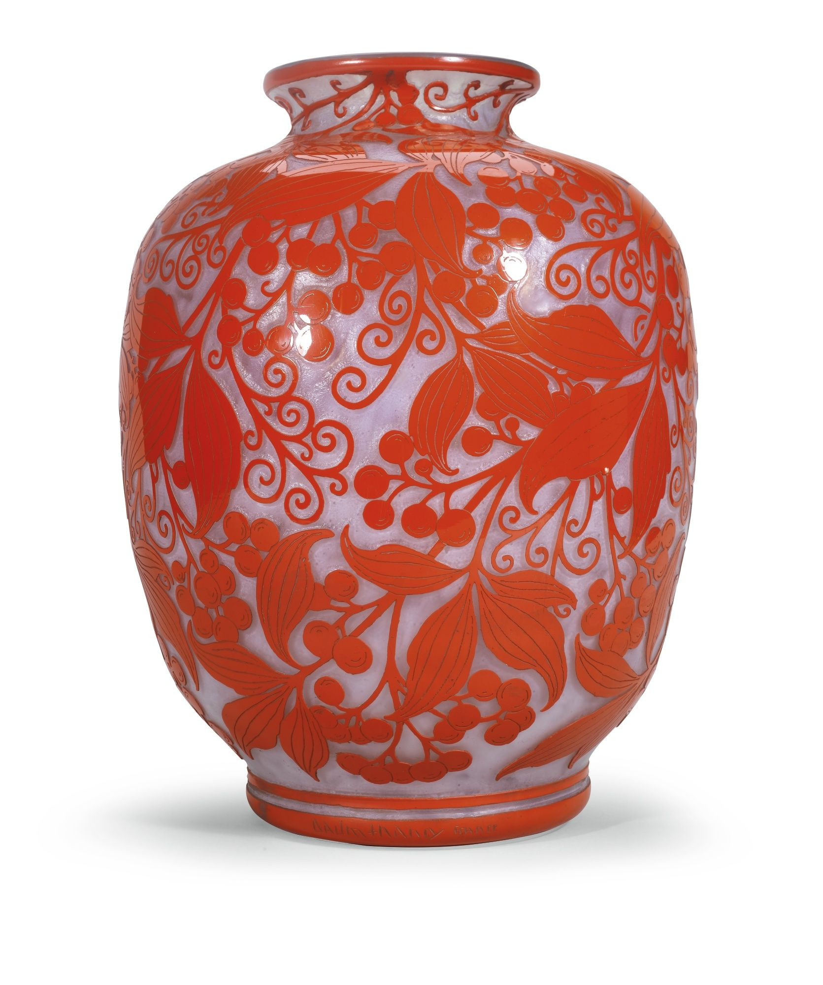 daum nancy vase prices of a white and red glass vase overlaid with leaves and berries by daum inside a white and red glass vase overlaid with leaves and berries by daum