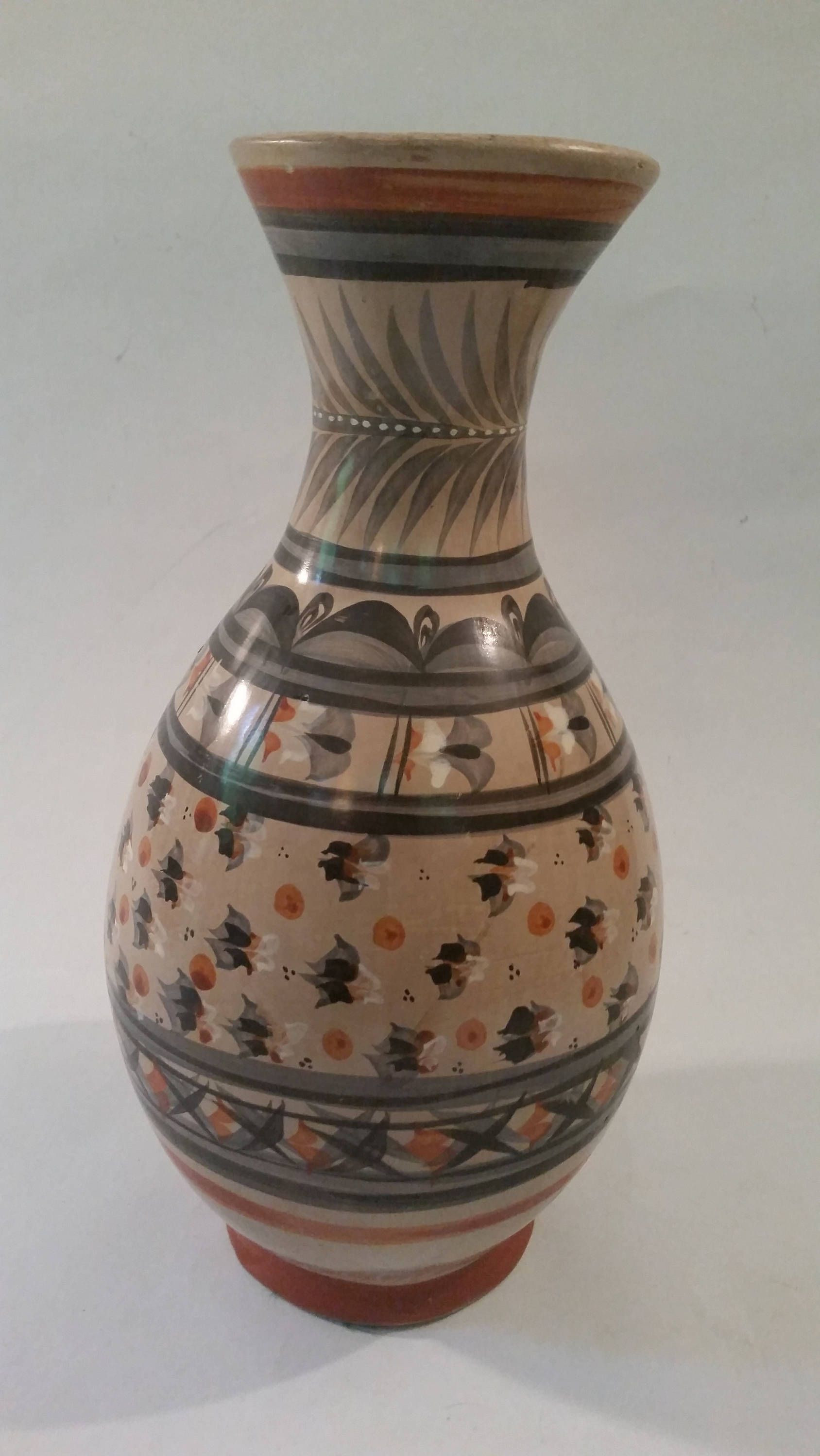 decorative ceramic vases large of vintage mexican ceramic vase large hand painted clay vessel tonala regarding vintage mexican ceramic vase large hand painted clay vessel tonala pottery mexi