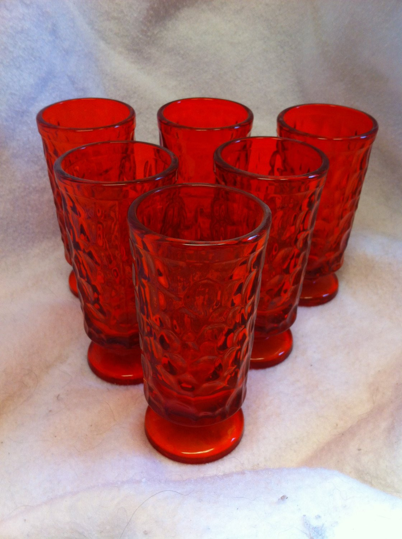 "decorative glass pebbles for vases of set of 6 fostoria flaming orange 8 oz pebble beach pattern etsy with regard to dŸ""Žzoom"
