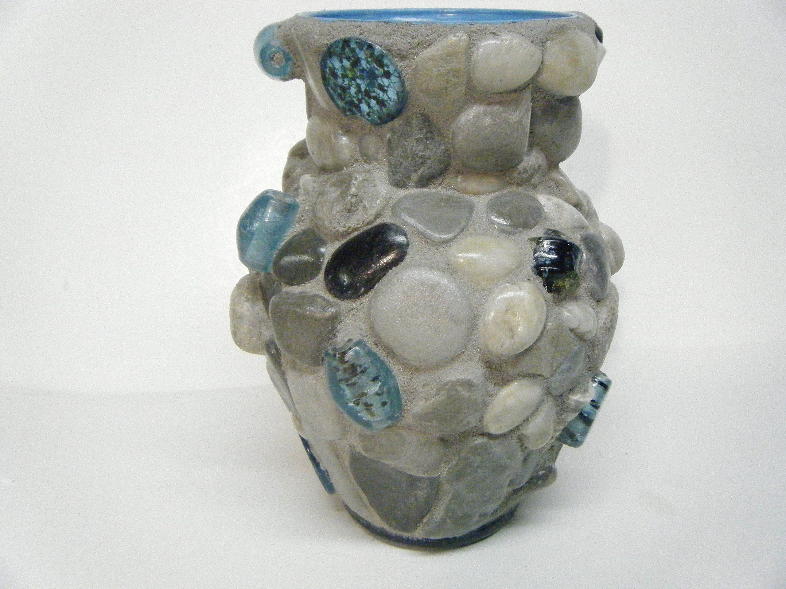 decorative glass rocks for vases of mosaic rock vase with aqua beads beautiful one of a kind vase with for mosaic rock vase with aqua beads beautiful one of a kind vase with grey beach