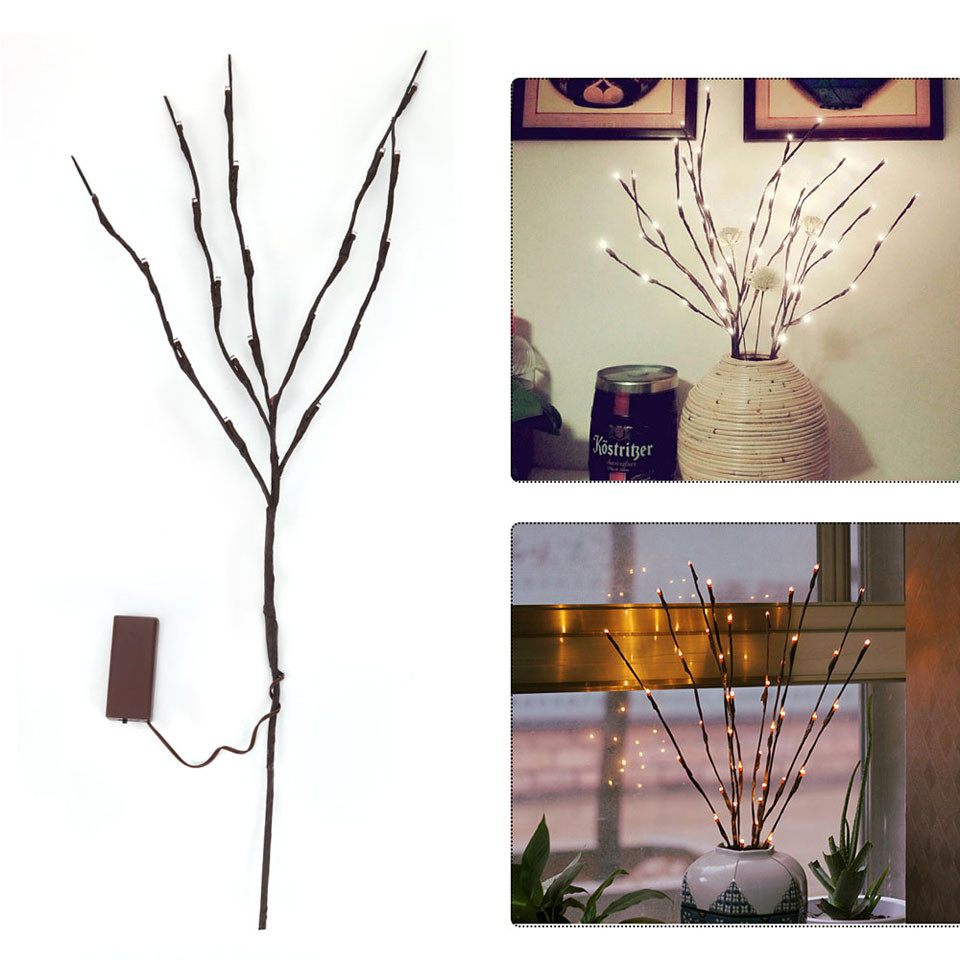 Decorative Lighted Branches for Vases Of 2018 20 Led Branches Night Light Battery Powered Decorative Lamp Inside 20 Led Branches Night Light Baery Powered Decorative Lamp Willow Twig Lighted Branch for Home Decoration Lights Warm White