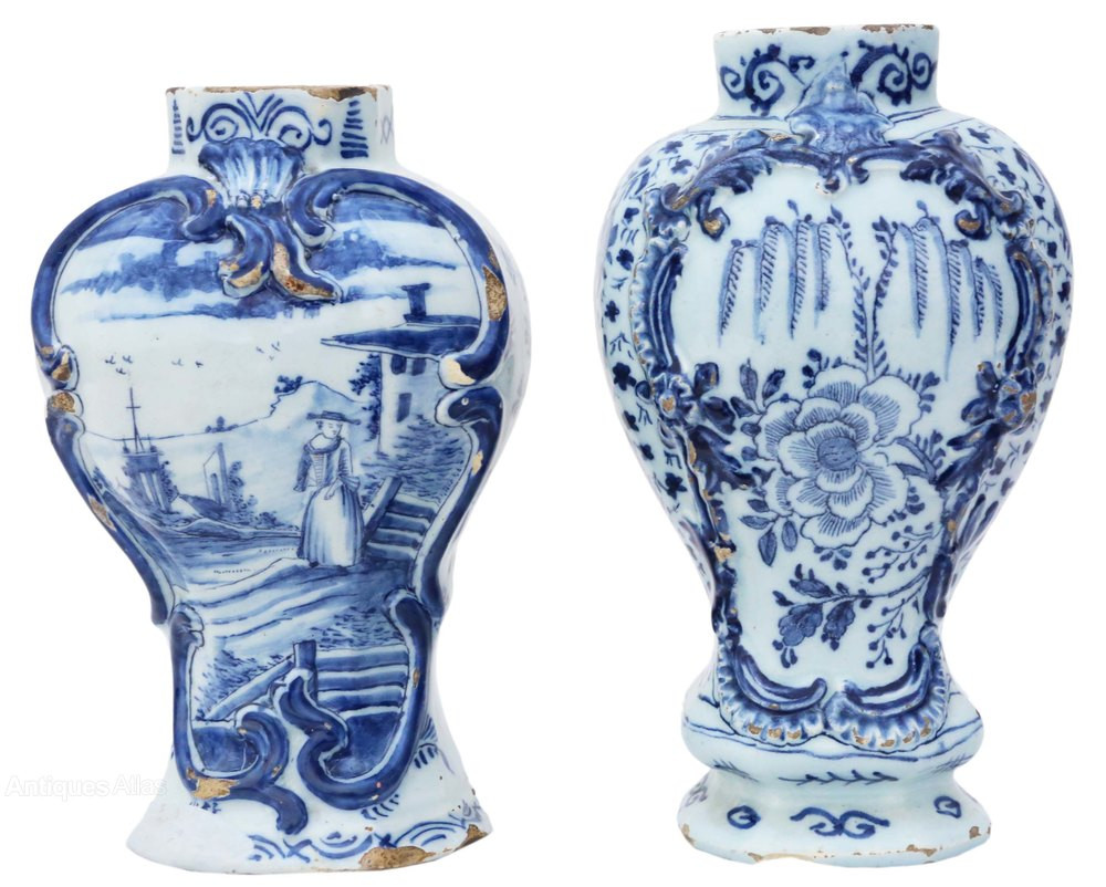 delft vase value of antiques atlas matched pair 18th century blue white delft vases with matched pair 18th century blue white delft vases