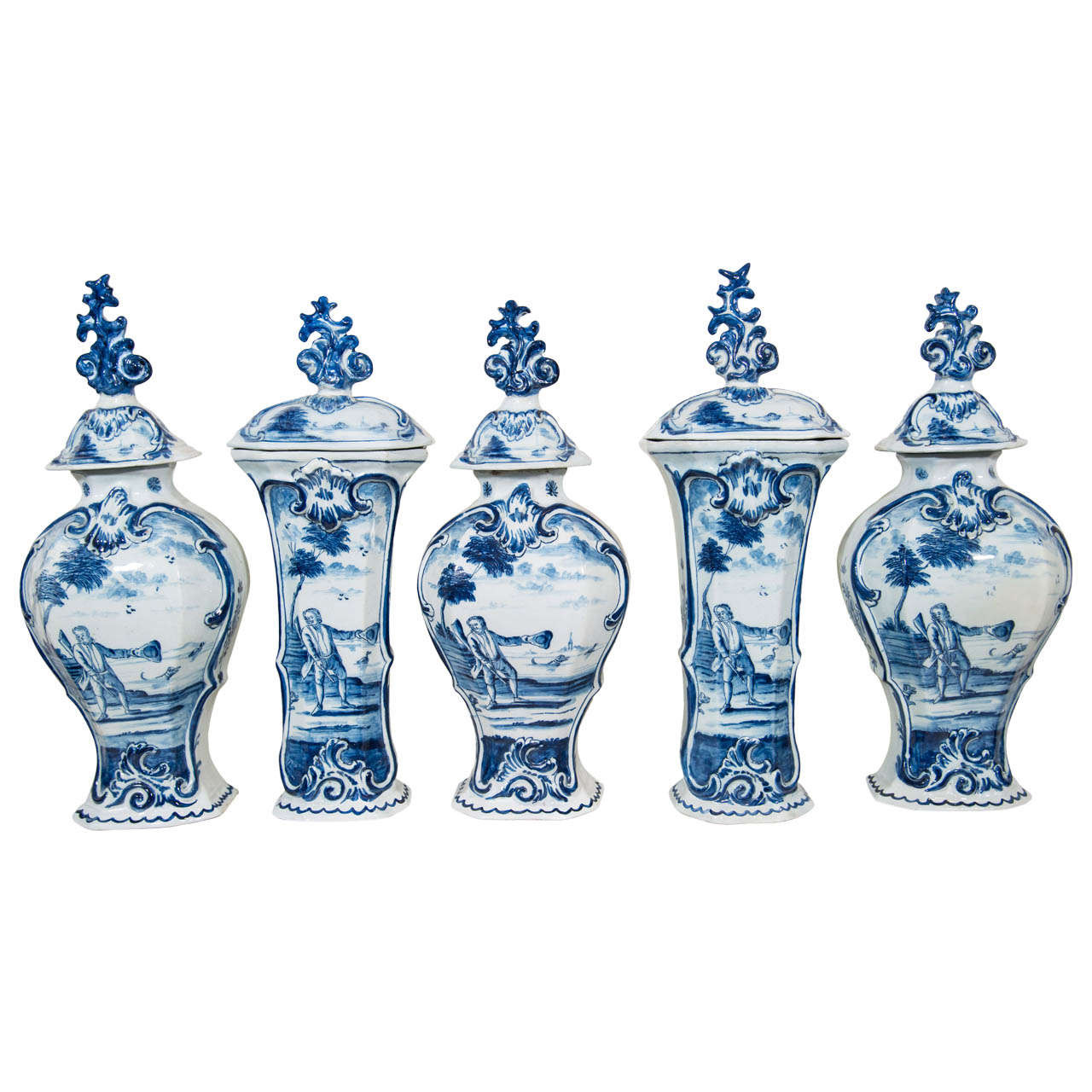 delft vase value of five piece blue and white delft garniture at 1stdibs throughout five piece blue and white delft garniture for sale