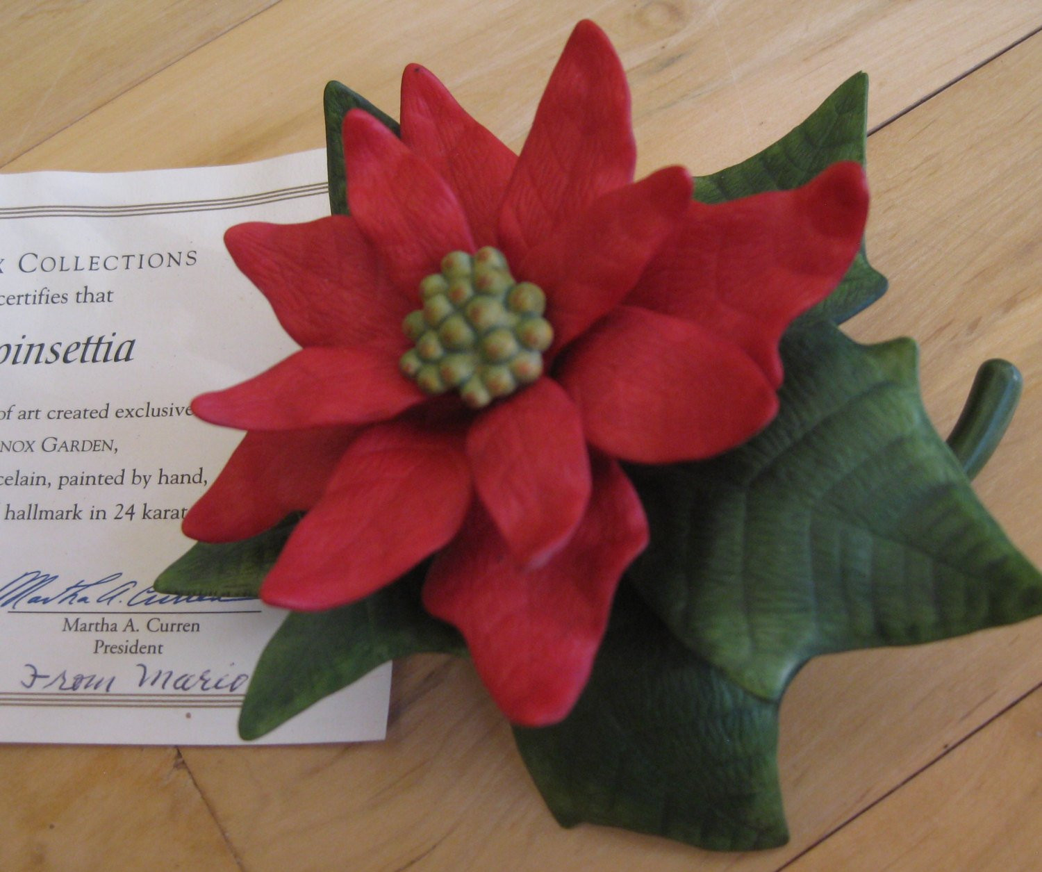 discontinued lenox vases of 1991 lenox poinsettia mint with coa etsy with image 0