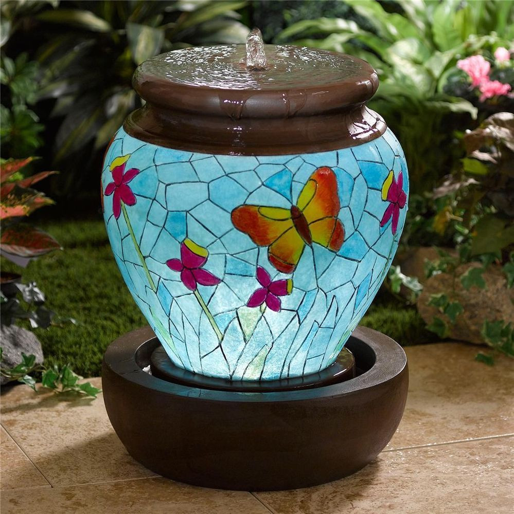 Diy Vase Water Fountain Of Beautiful Lighted butterfly Fountain Outdoor Lighted Garden Water Intended for Beautiful Lighted butterfly Fountain Outdoor Lighted Garden Water Feature