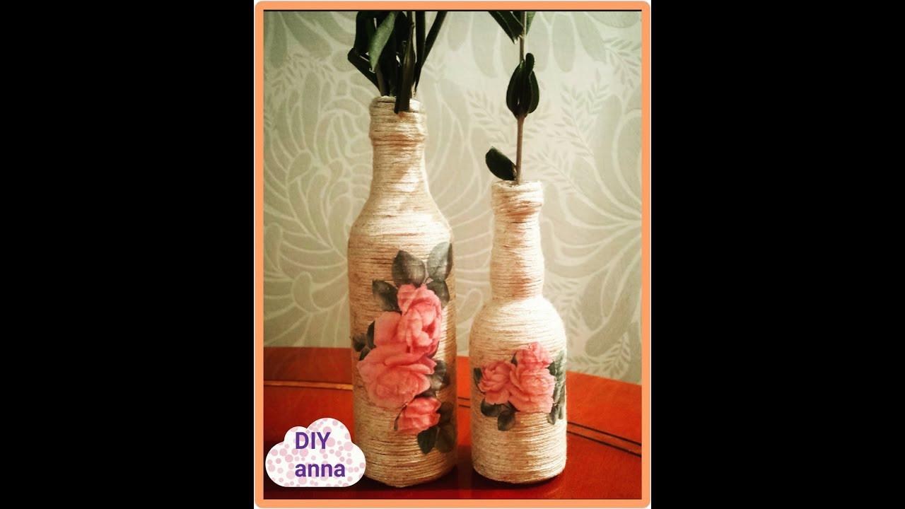 donate glass flower vases of decoupage yarn bottle decorations diy craft ideas tutorial uradi in decoupage yarn bottle decorations diy craft ideas tutorial uradi sam youtube