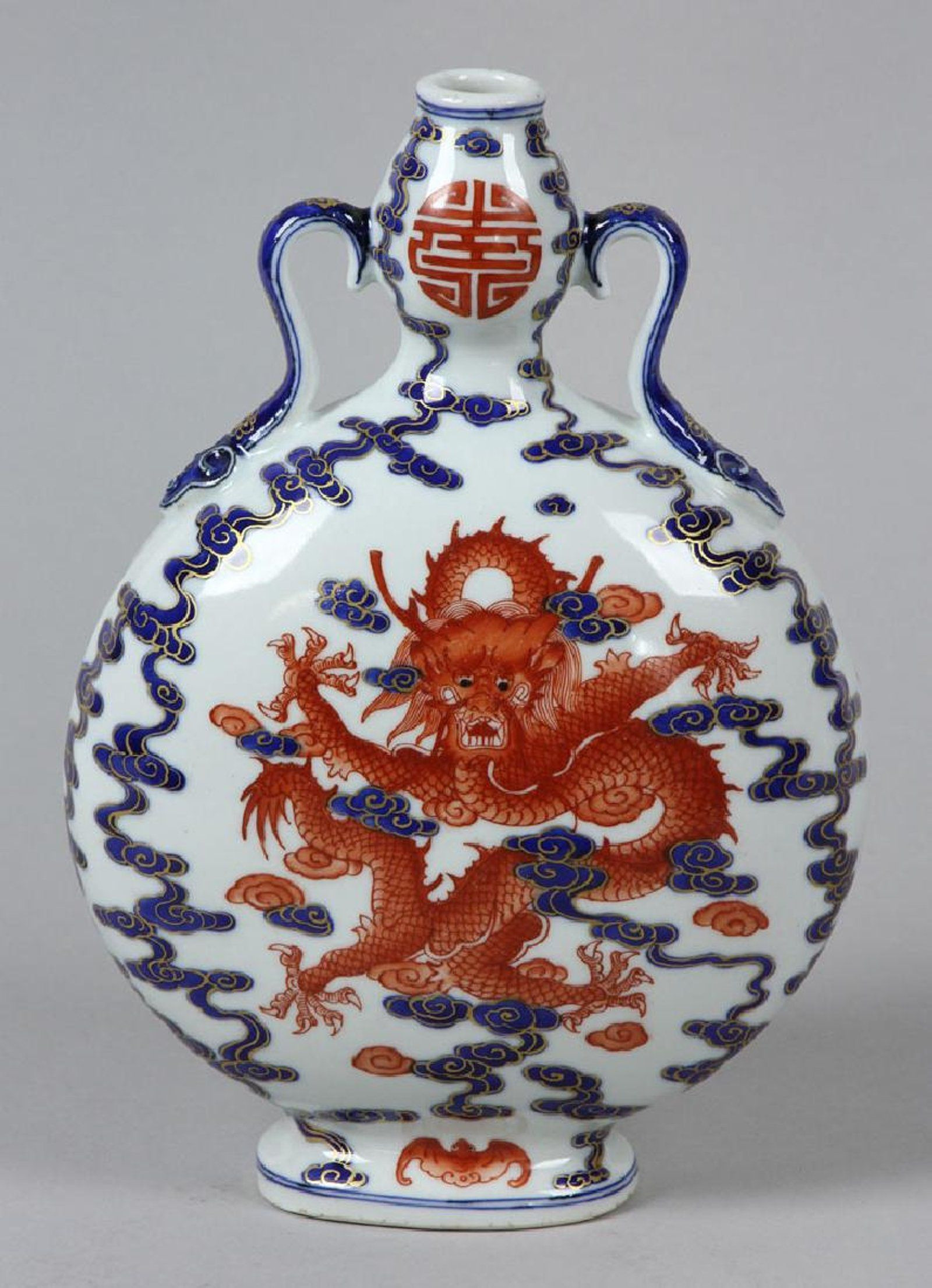 double gourd vase of chinese blue and white moon flask vase decorated with copper red in chinese blue and white moon flask vase decorated with copper red dragon qing