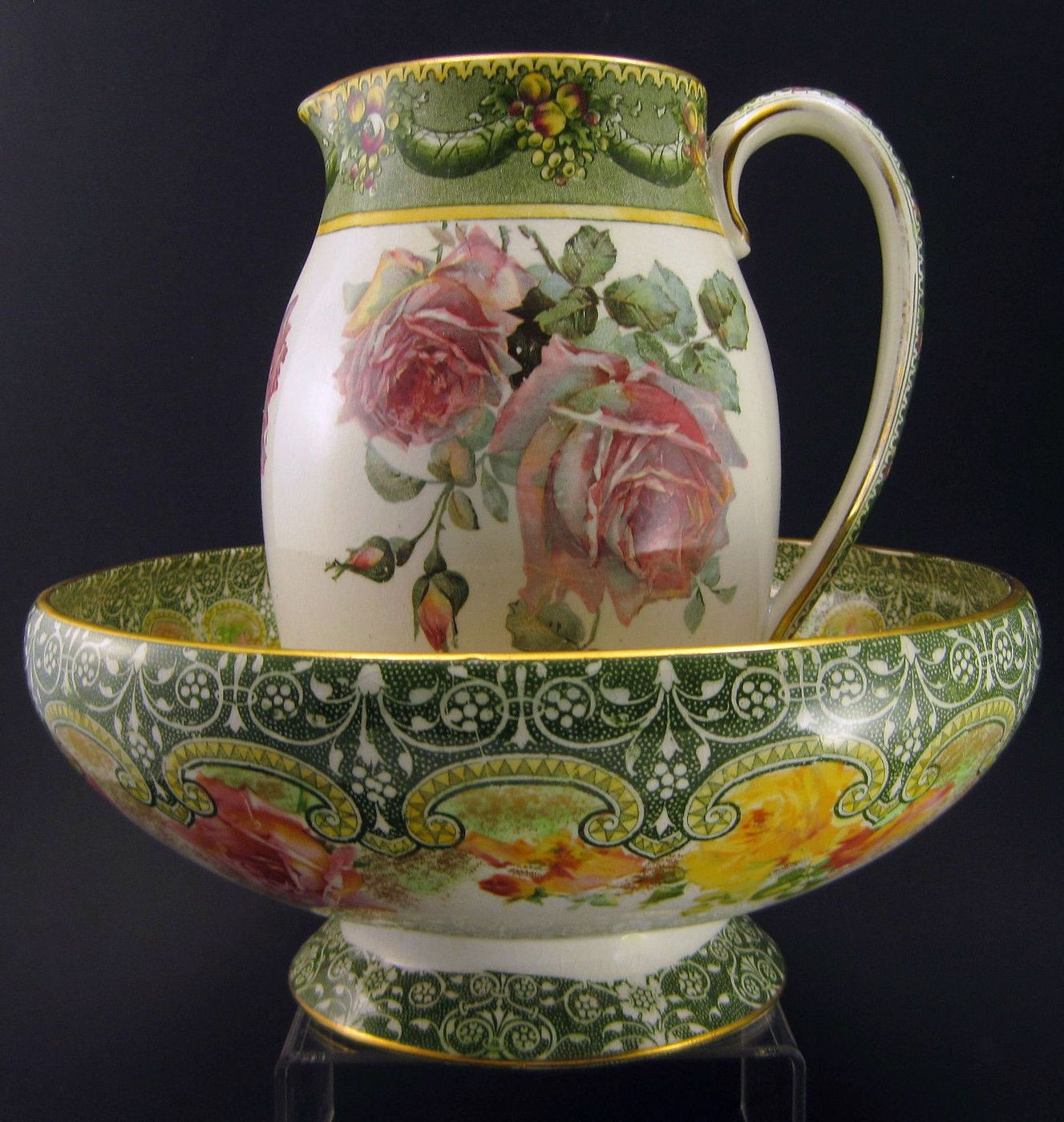 doulton burslem vase of royal doulton pitcher bowl underglazed indestructible flowers throughout for your consideration is antique royal doulton pitcher bowl in the rare underglazed indestructible flowers dacor circa both pieces have the special