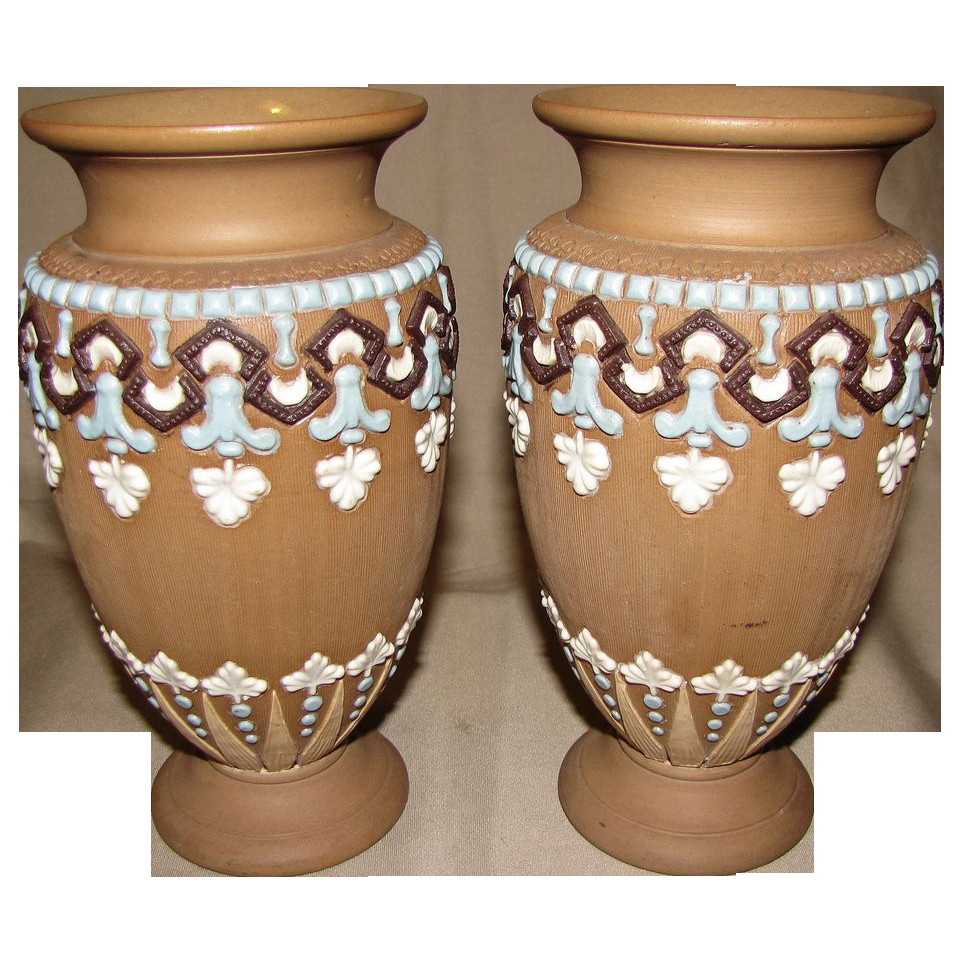 doulton lambeth vase of wonderful pair of doulton lambeth silicon stoneware vases ca 1893 inside wonderful pair of doulton lambeth silicon stoneware vases ca 1893