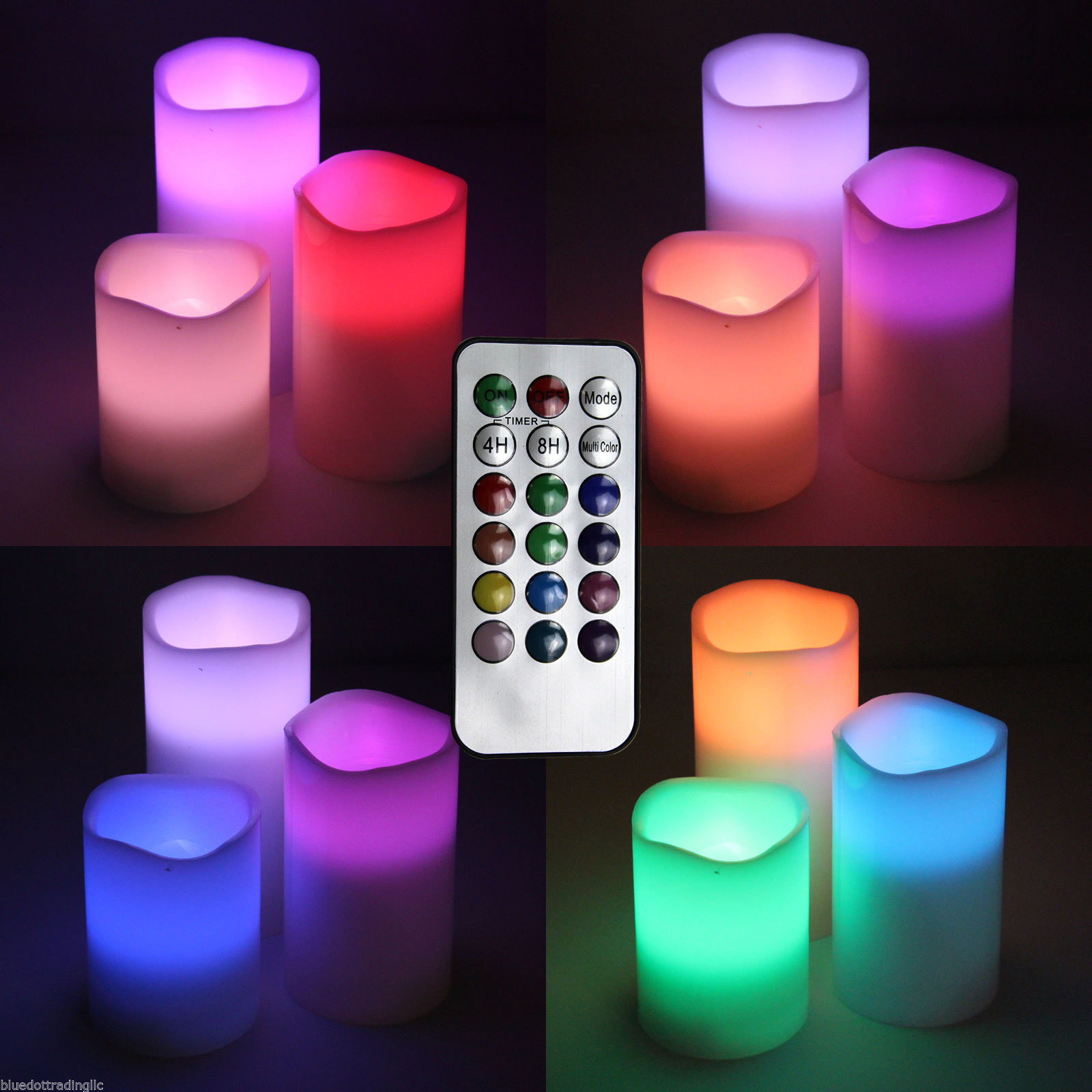 Eastland Tall Cylinder Vases Of 3pc 12 Color Changing Led Flameless Electronic Smokeless Candles Inside norton Secured Powered by Verisign