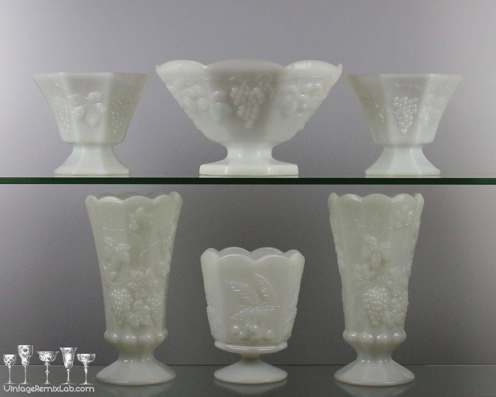 ebay cut glass vases of 50 glass pedestal vase the weekly world throughout vintage 1950s milk glass pedestal vases • paneled grape design by