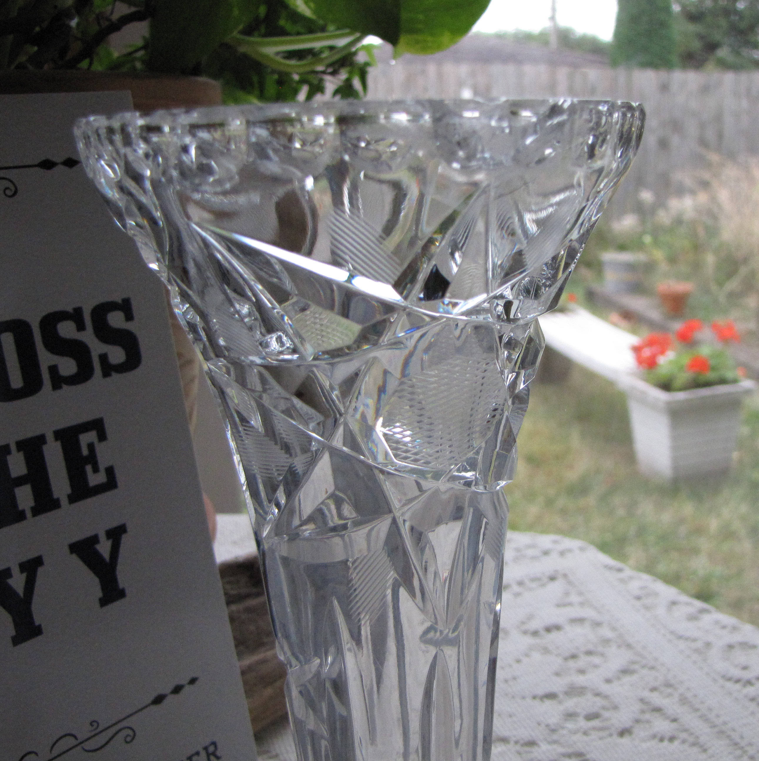 ebay cut glass vases of crystal vase cut glass flower vase etched waffle and stars footed inside shipping