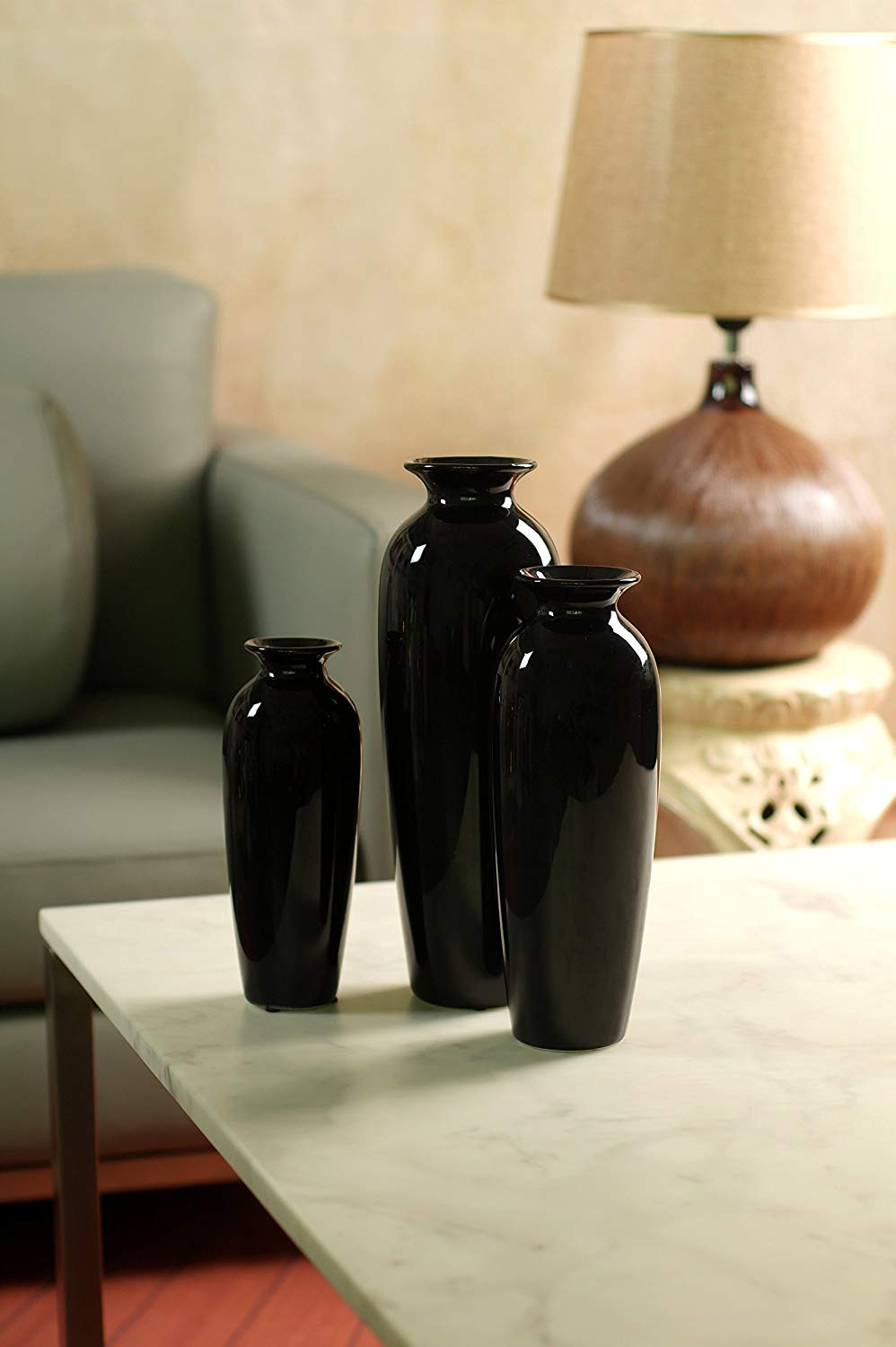 elegant expressions by hosley vase of amazon de hosleys elegant expressions set of 3 black ceramic vases with regard to amazon de hosleys elegant expressions set of 3 black ceramic vases in gift box box of 1 set by