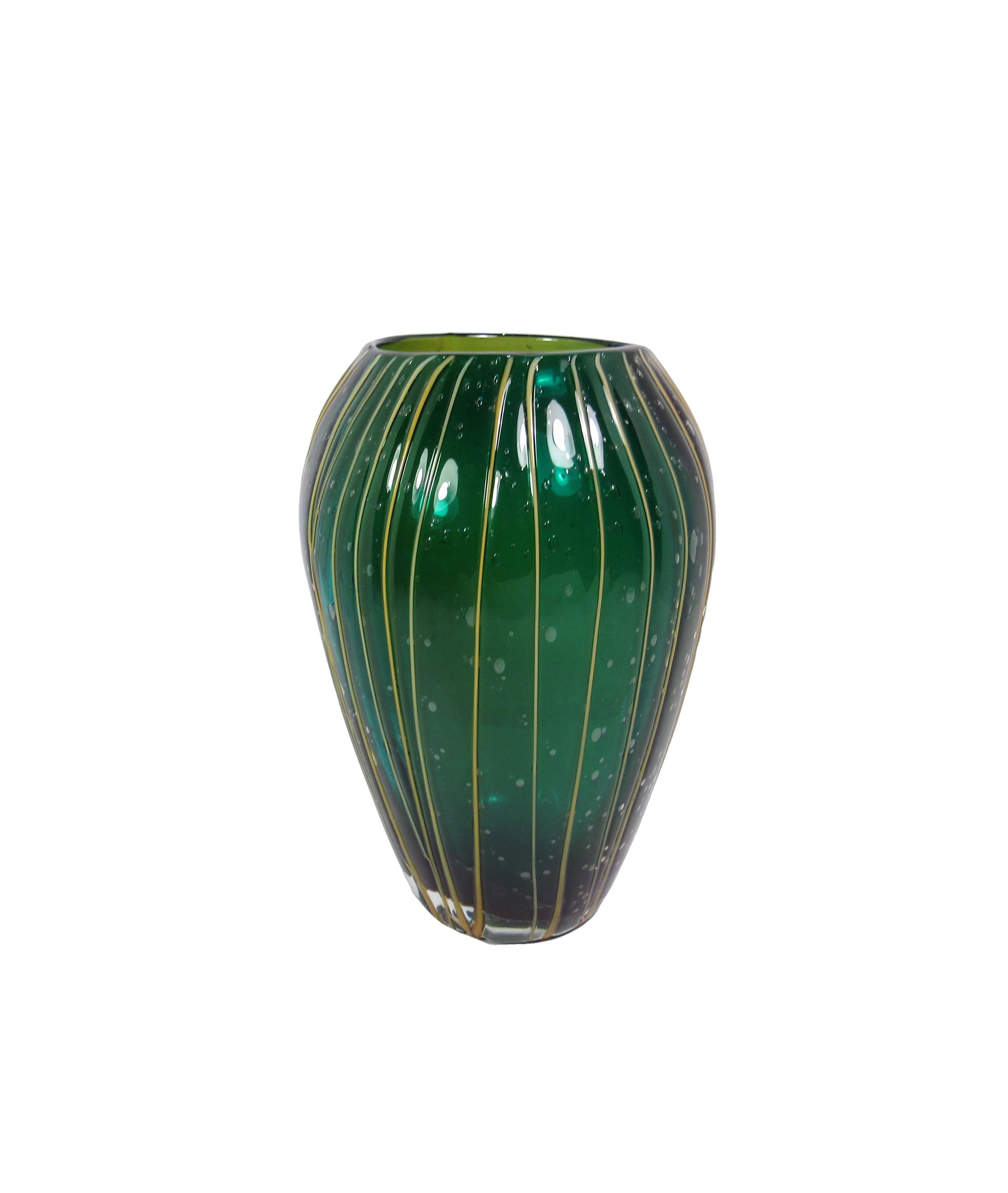 "emerald green glass vase of hand blown emerald glass shoulder vase with gold glass etsy pertaining to dŸ""Žzoom"