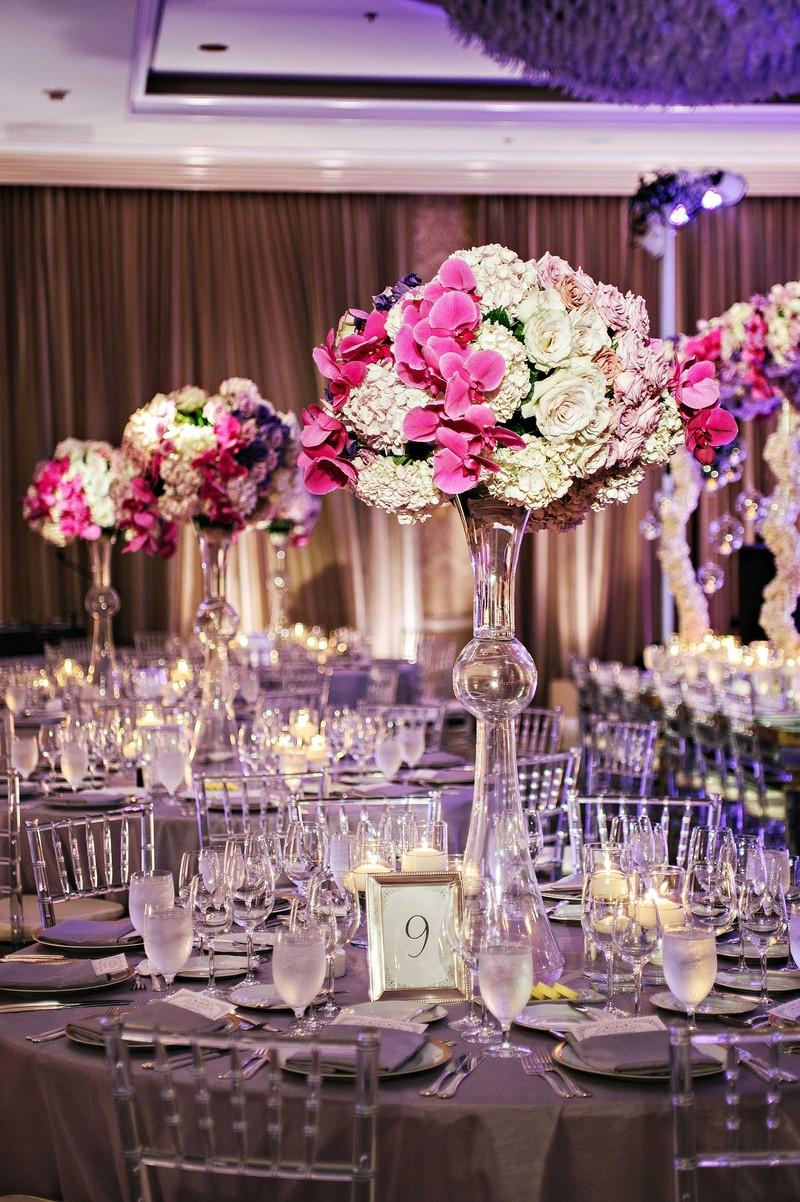 empty vase florist los angeles of glamorous outdoor ceremony ballroom reception with purple details within tall latour trumpet vase with white hydrangea lavender rose and fuchsia orchid centerpiece